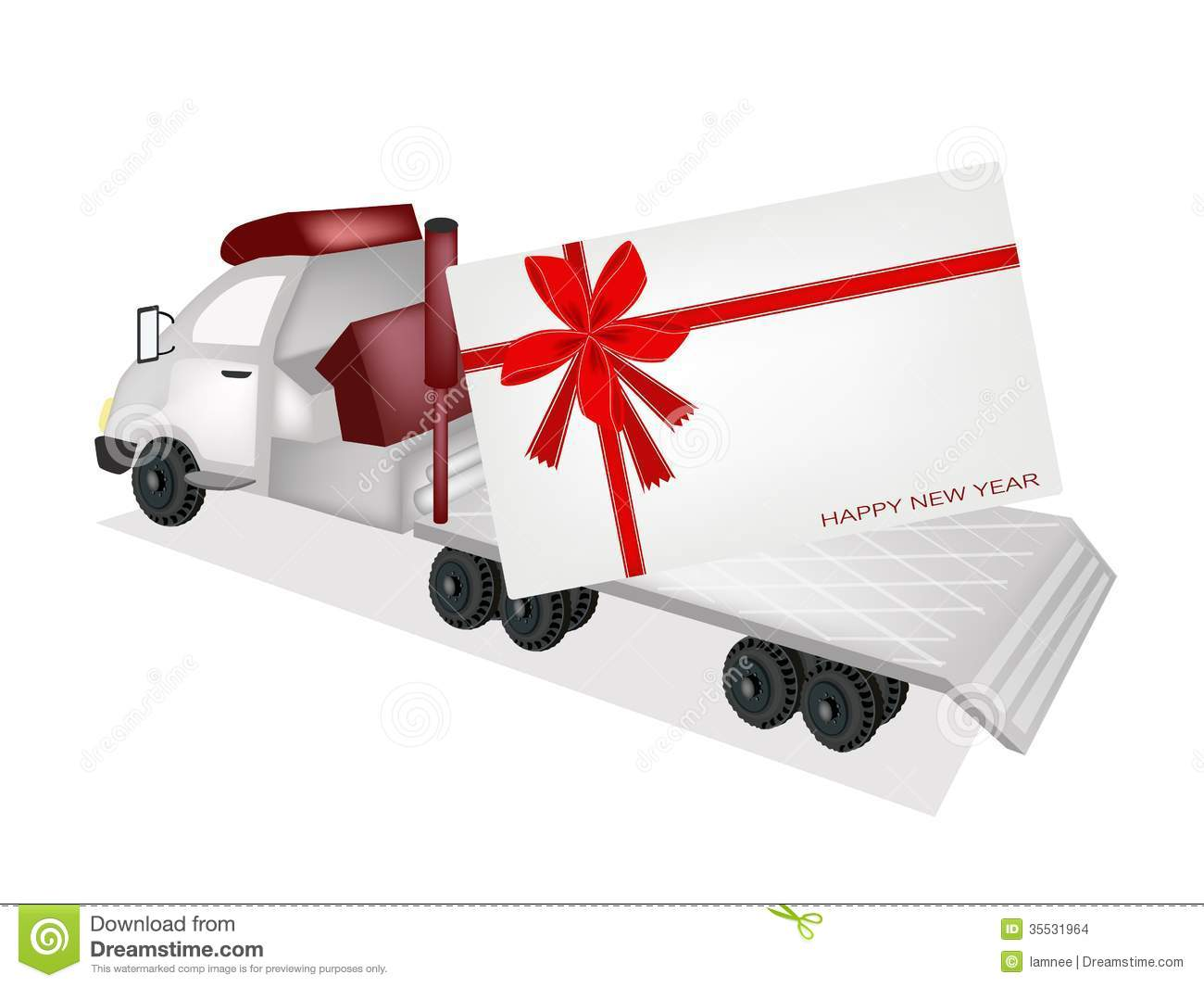 Tractor Trailer Flatbed Sending A New Year Card Stock Vector