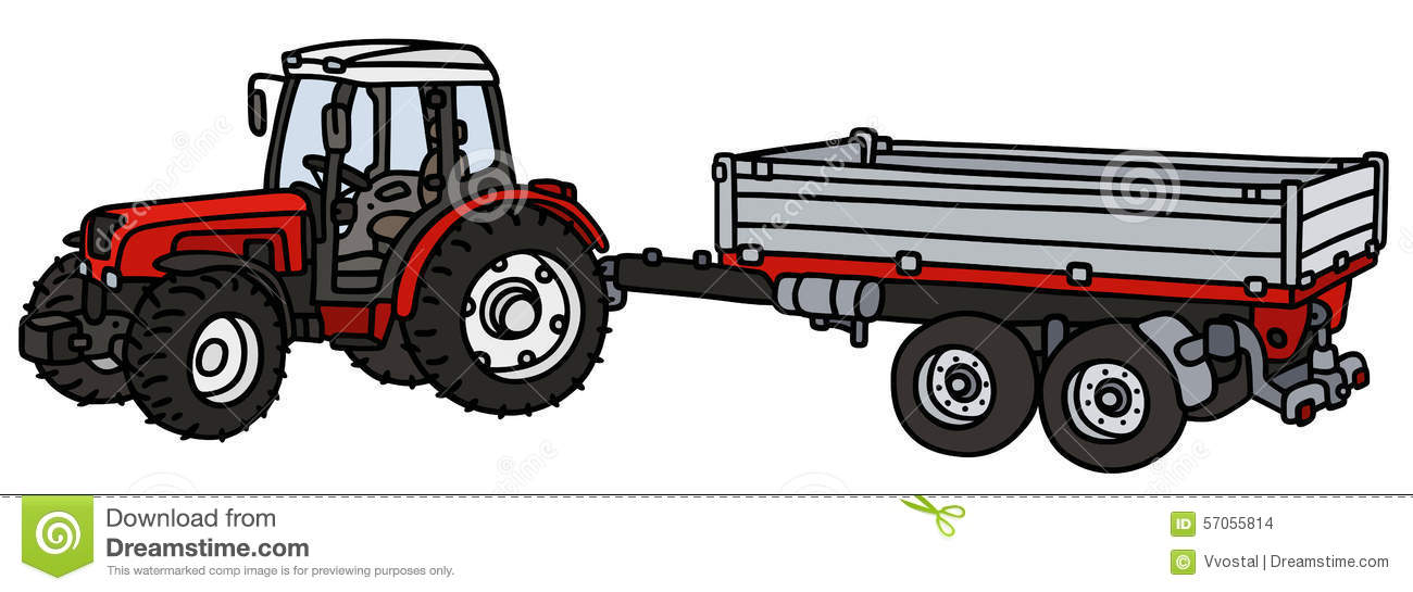 Types Of Tractor Trailers : Tractor with a trailer stock vector illustration of field