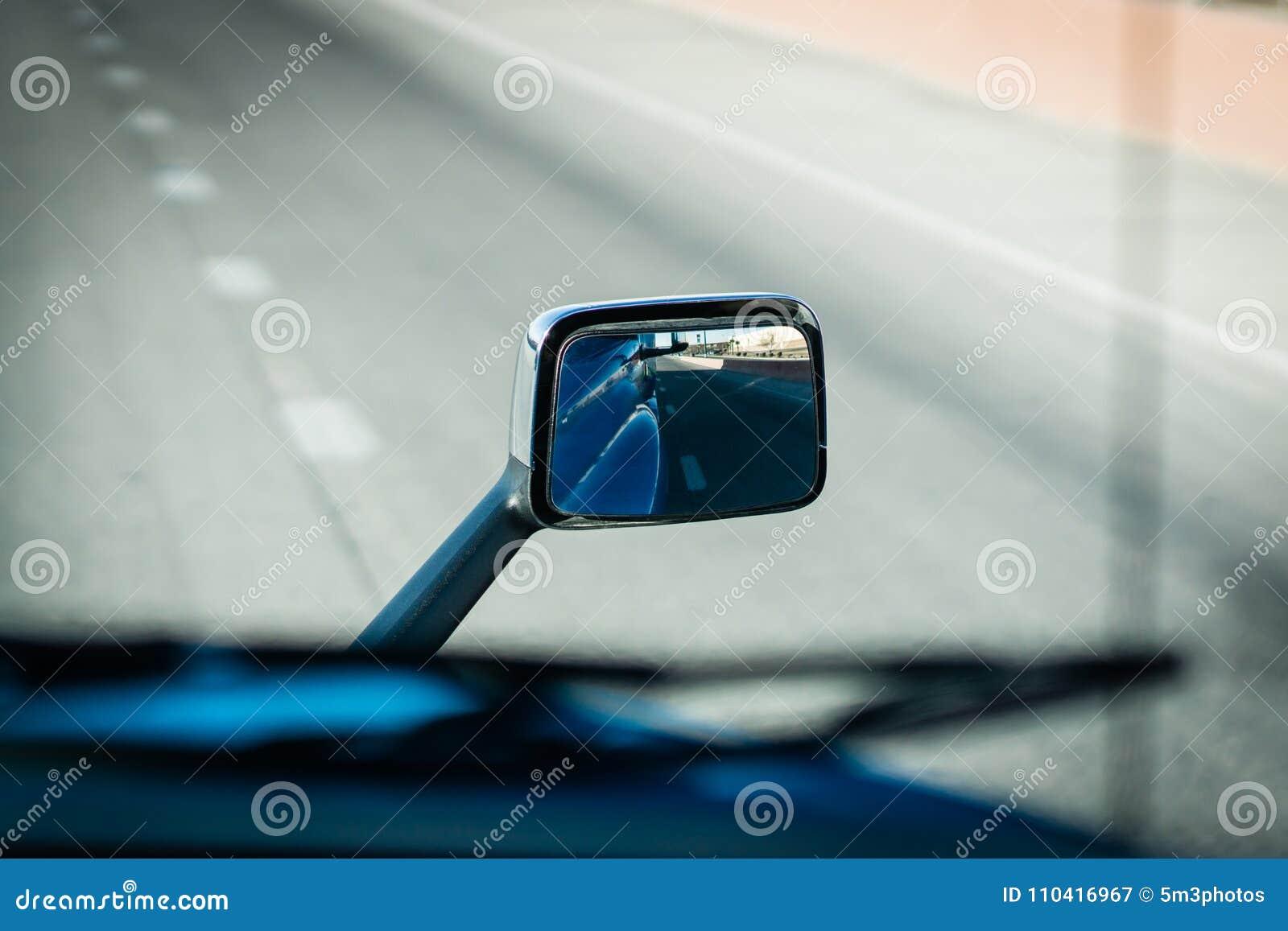 Semi Truck 18 Wheeler Side Mirror Collision Avoidance Stock Image