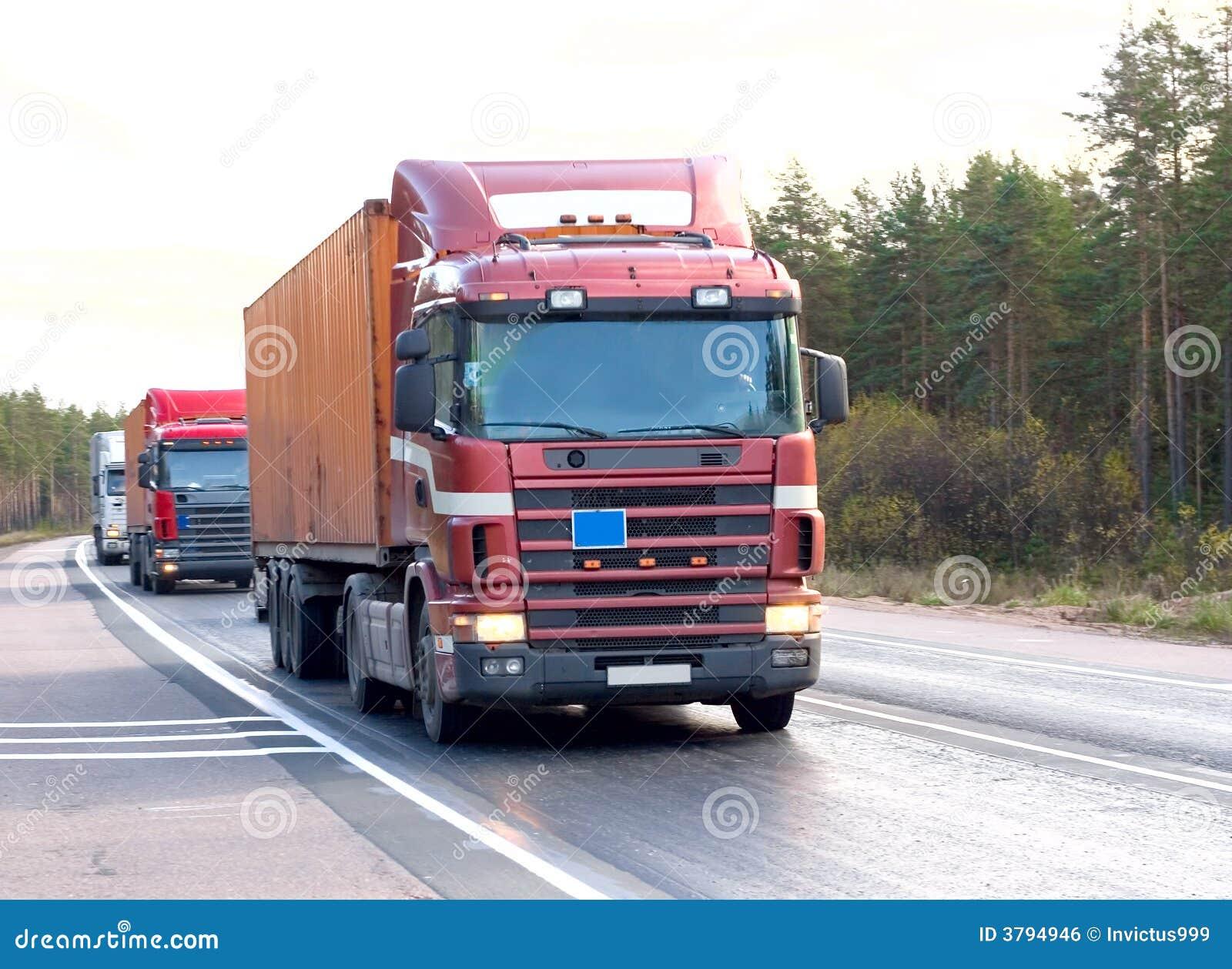 Tractor Trailer Stock : Tractor trailer trucks lorry caravan convoy line stock