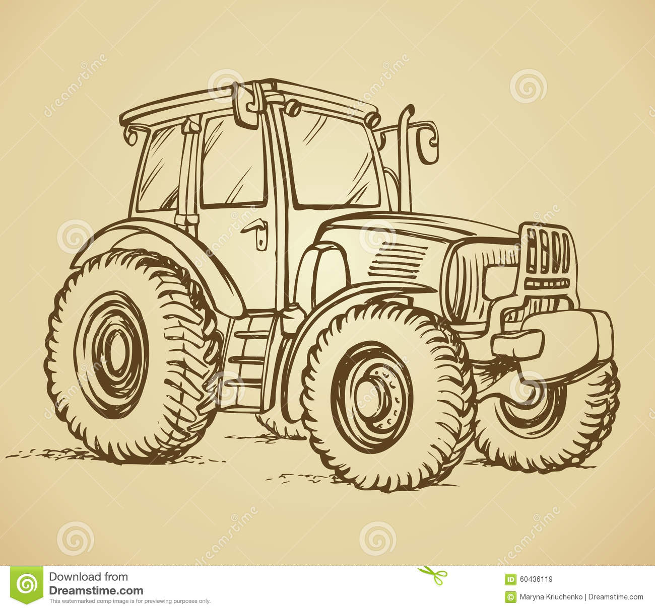 Tractor Vector Drawing Stock Vector Image Of Child