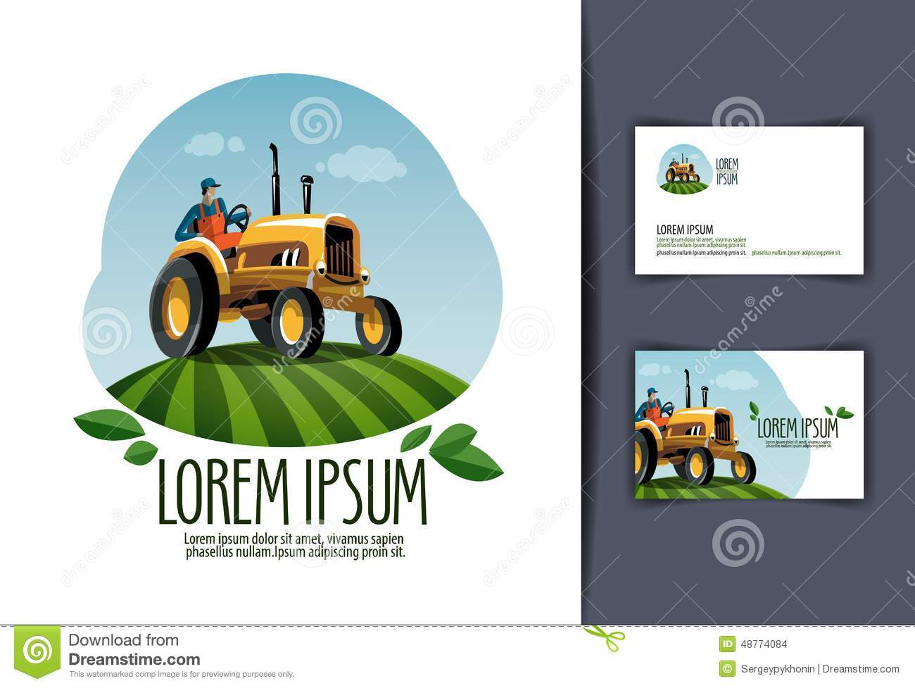 tractor vector logo design template  harvest or stock