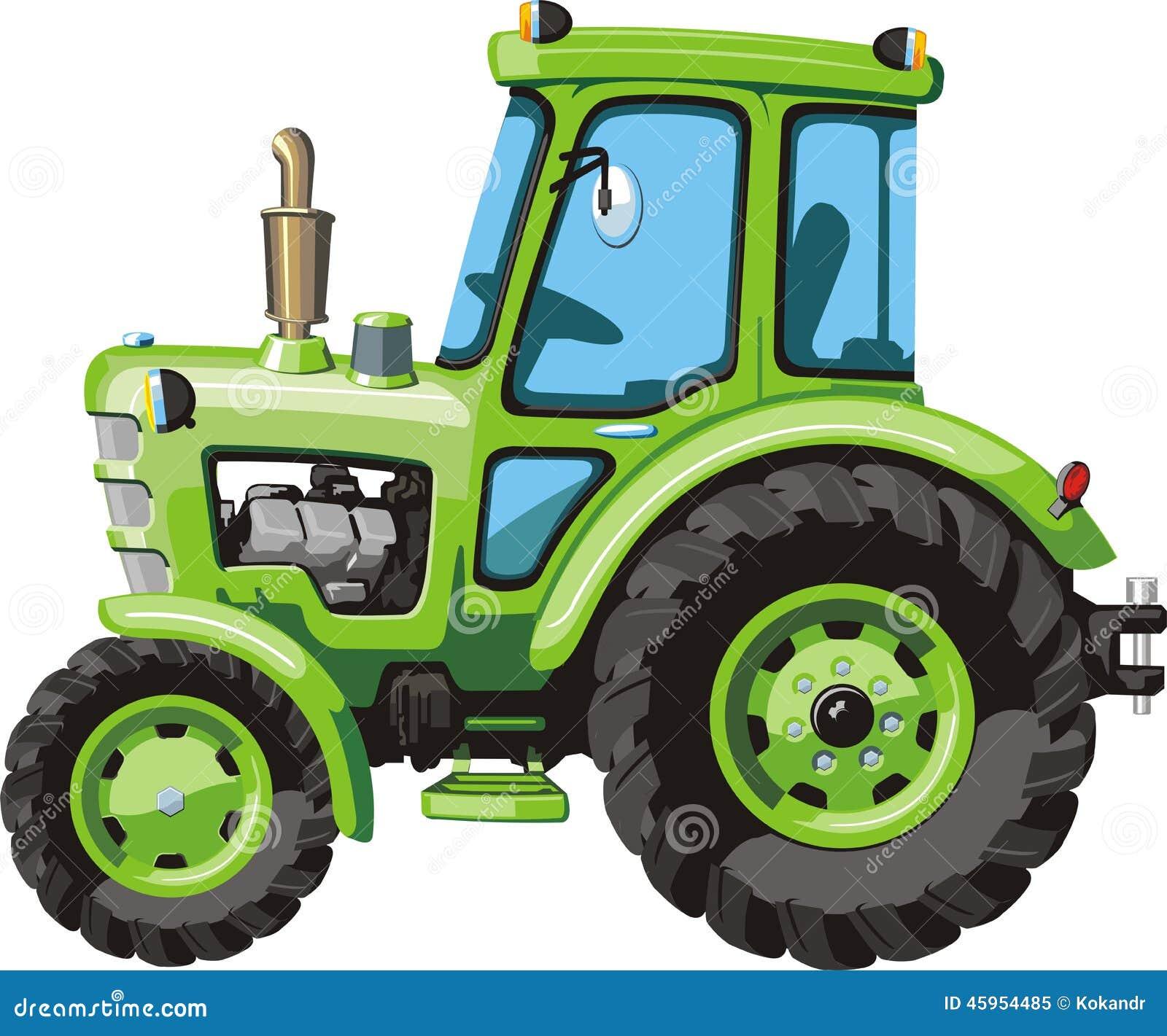 Tractor verde de la historieta