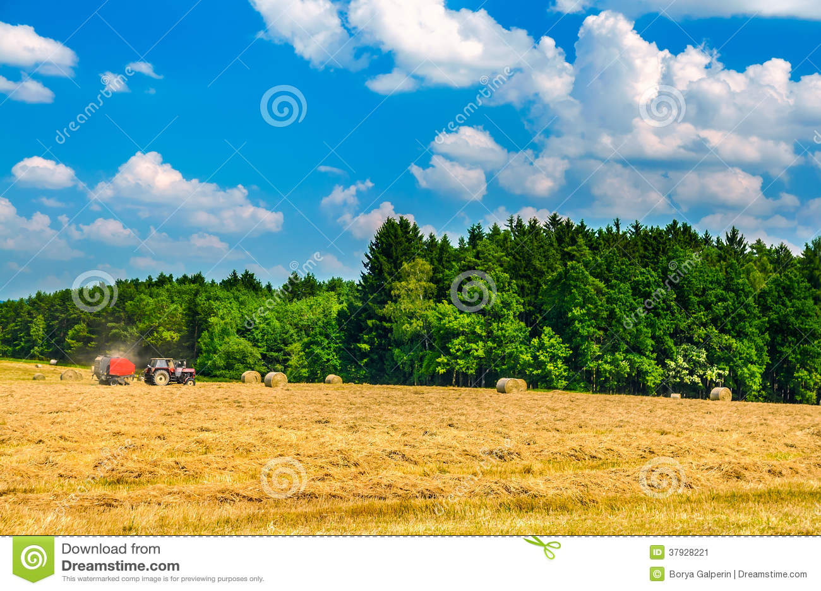 Tractor working in field