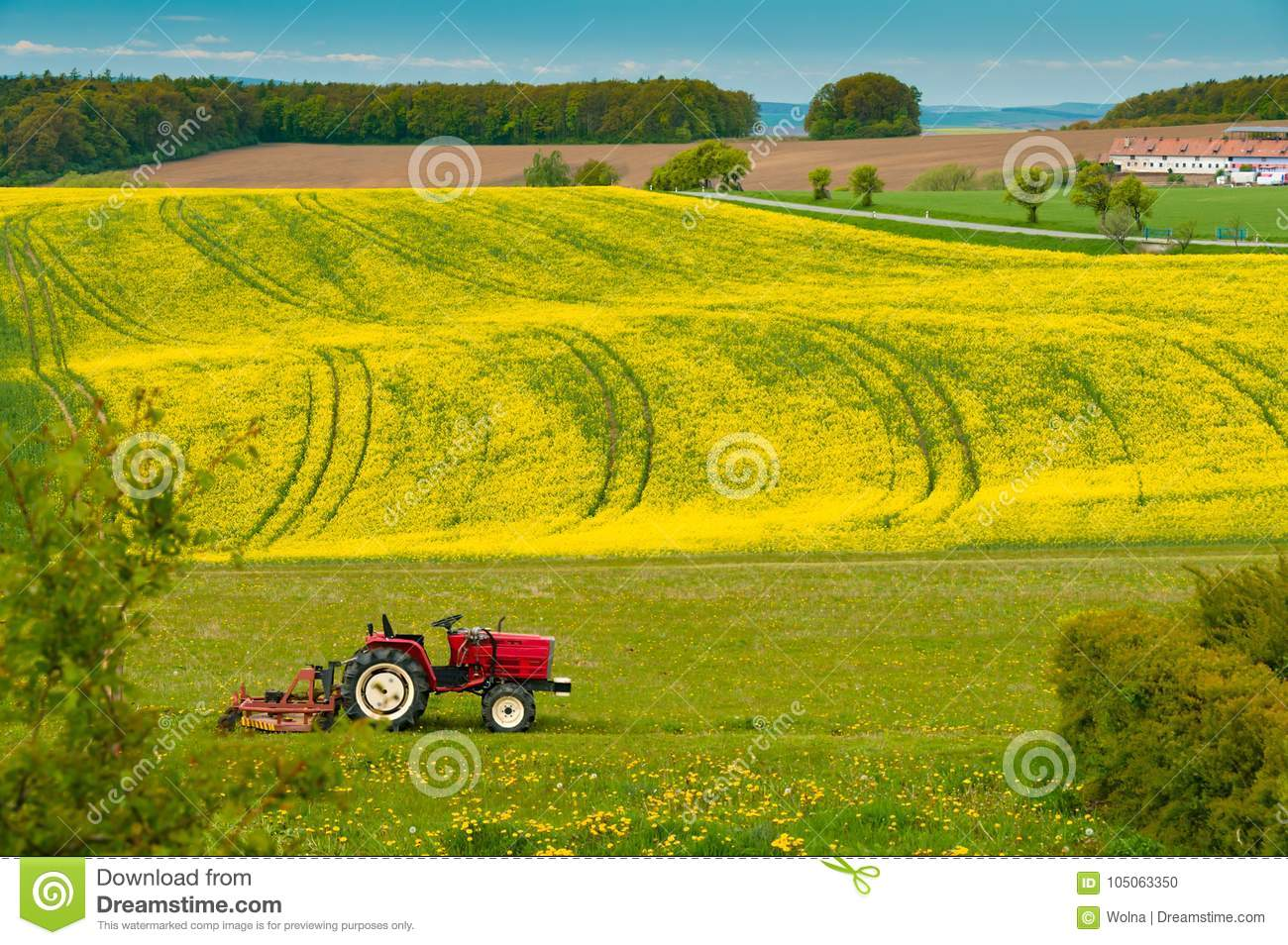 Download Tractor Is Working On The Field Stock Photo - Image of agriculture, season: 105063350