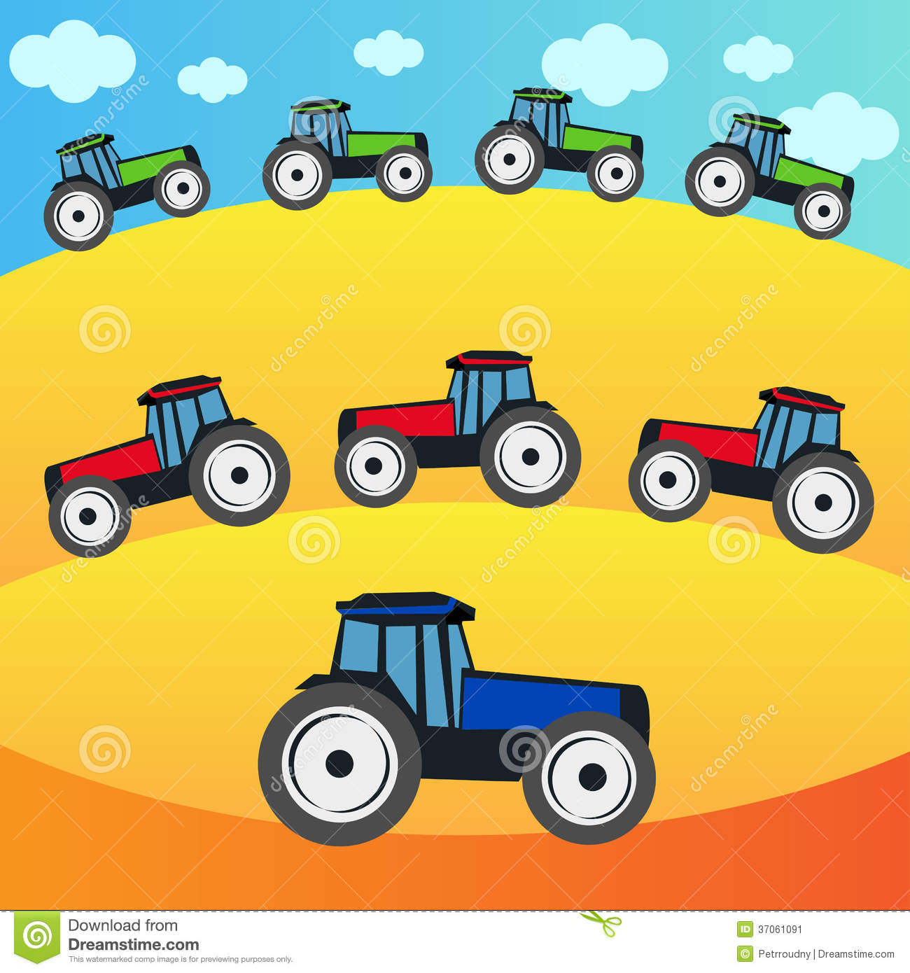 Up The Tractor Green Tractor With Bucket Cartoon : Tractors on the field stock image