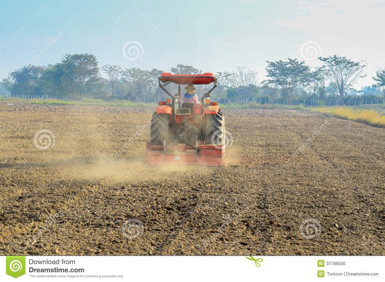 Tractor In Field Planting : Tractors planting farm field stock photo image