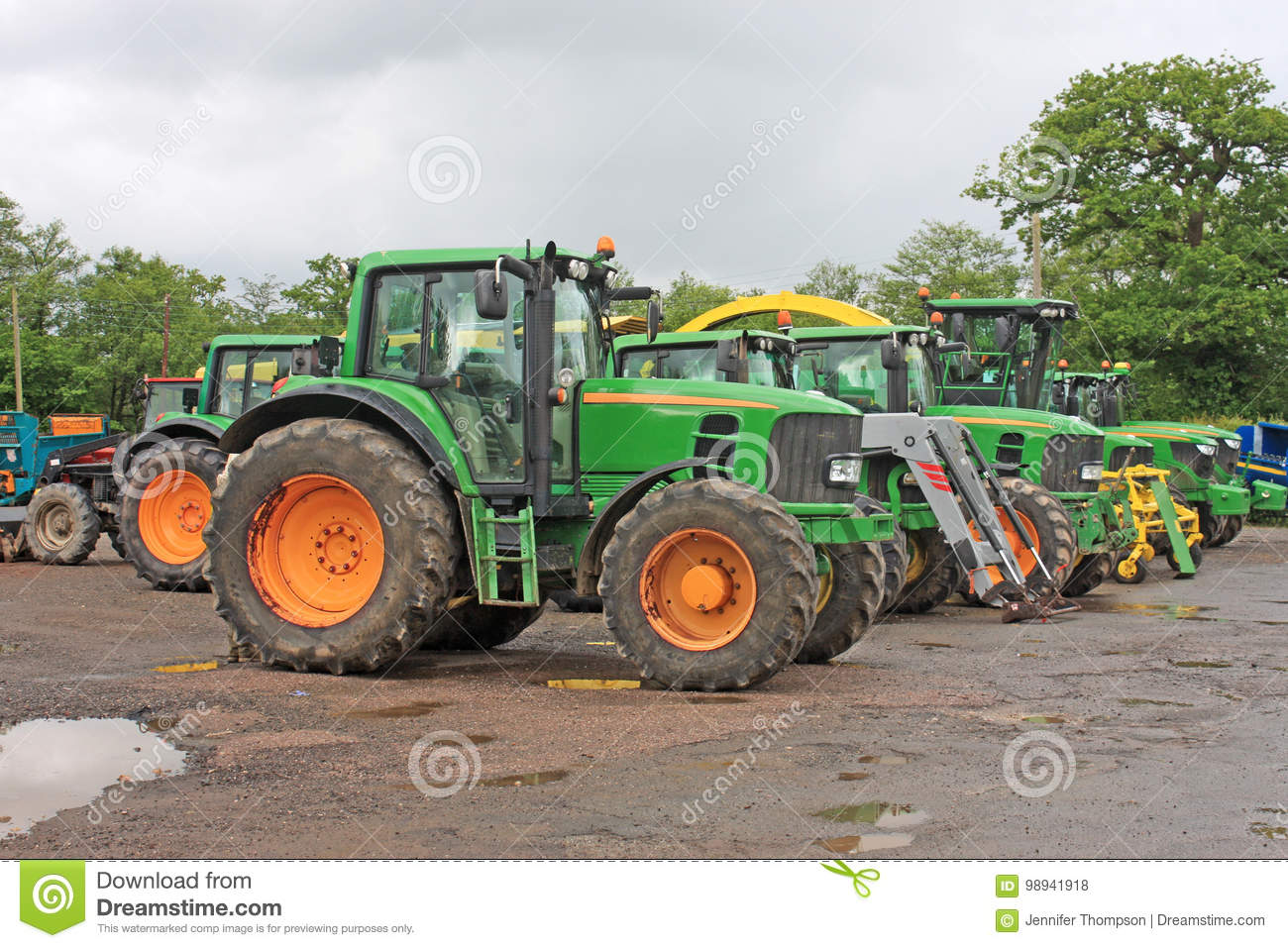 Tractors in a yard