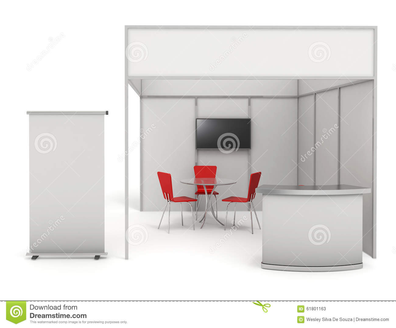 Exhibition Booth Clipart : Blank white trade exhibition stand cartoon vector
