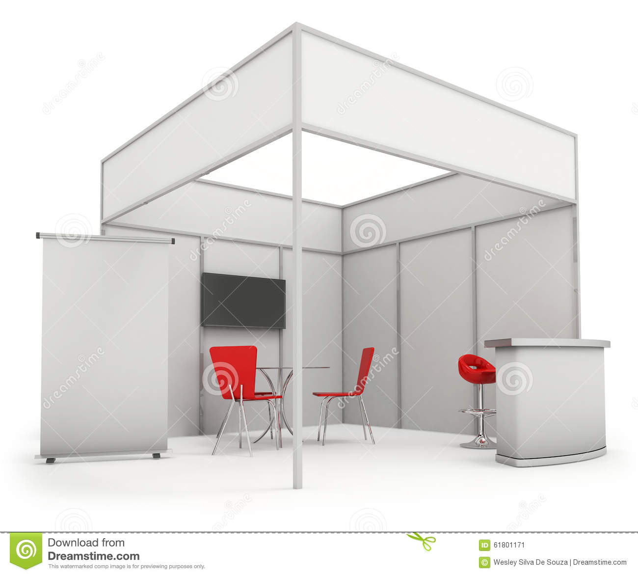 Exhibition Booth Free Download : Trade exhibition stand and blank roll banner d render