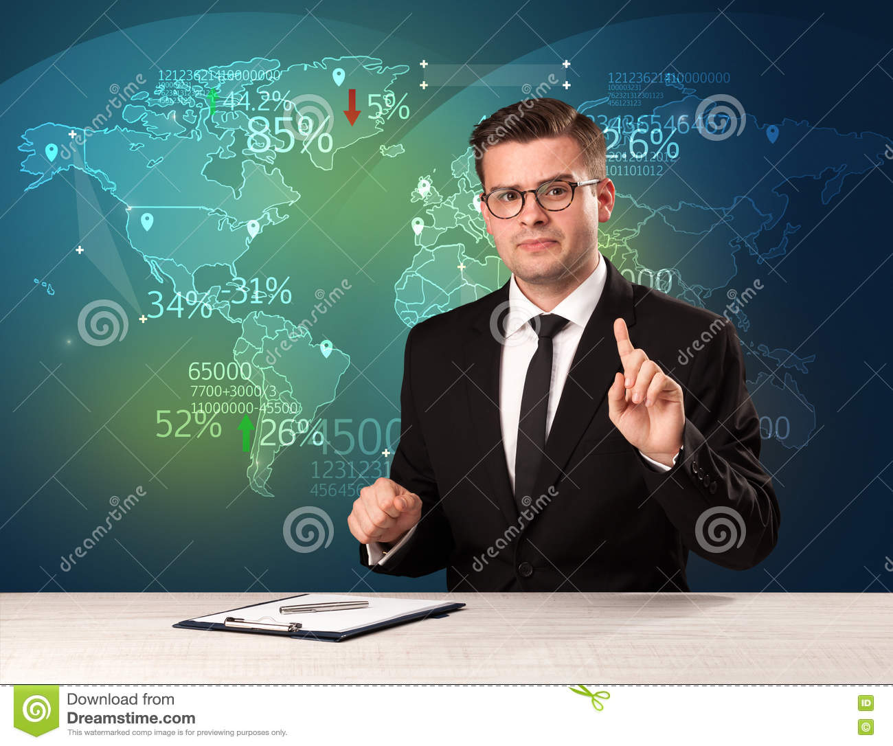 Trade market analyst is studio reporting world trading news with
