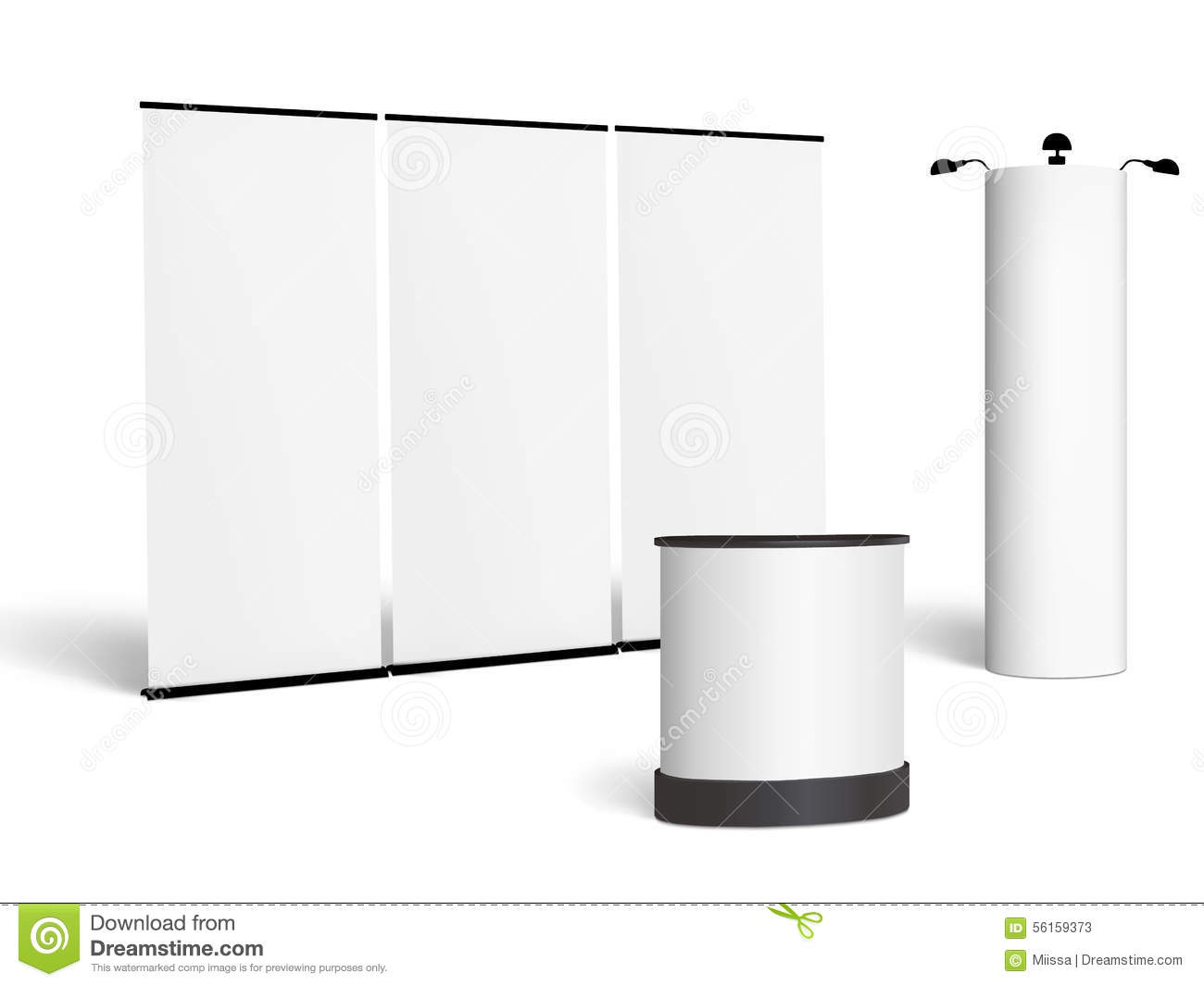 Trade Show Booth Mock-up  Vector On White Stock Vector