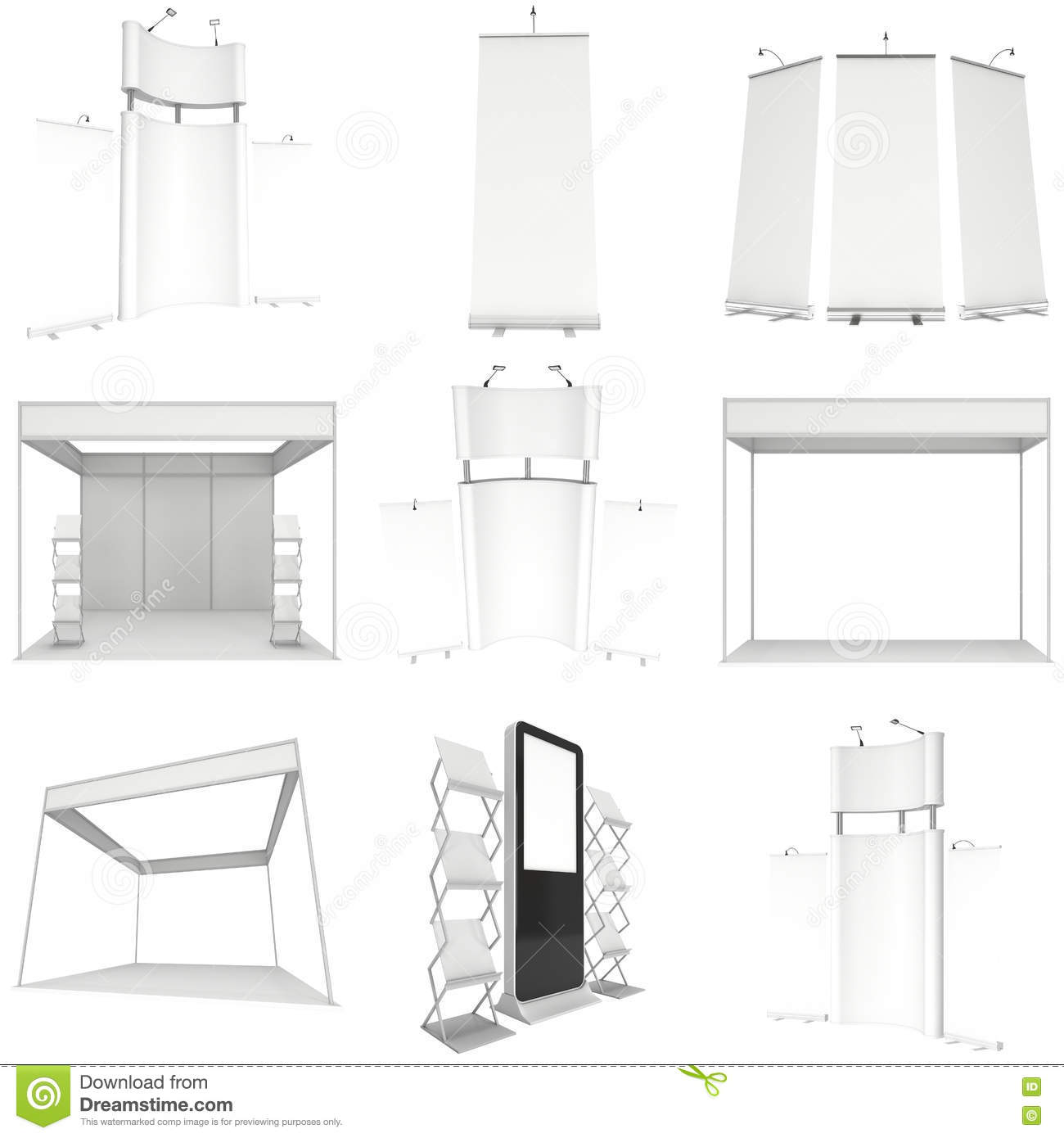 Trade Show Booth Set Floor Stands Collection Stock