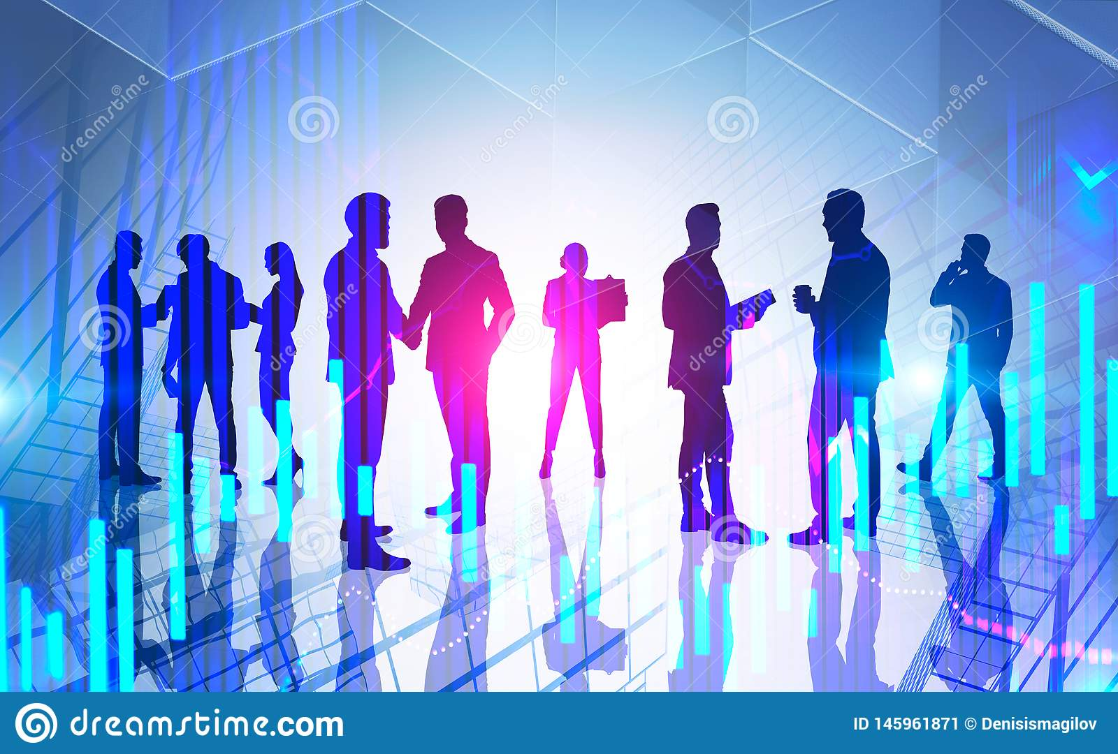 Traders silhouettes, stock market concept