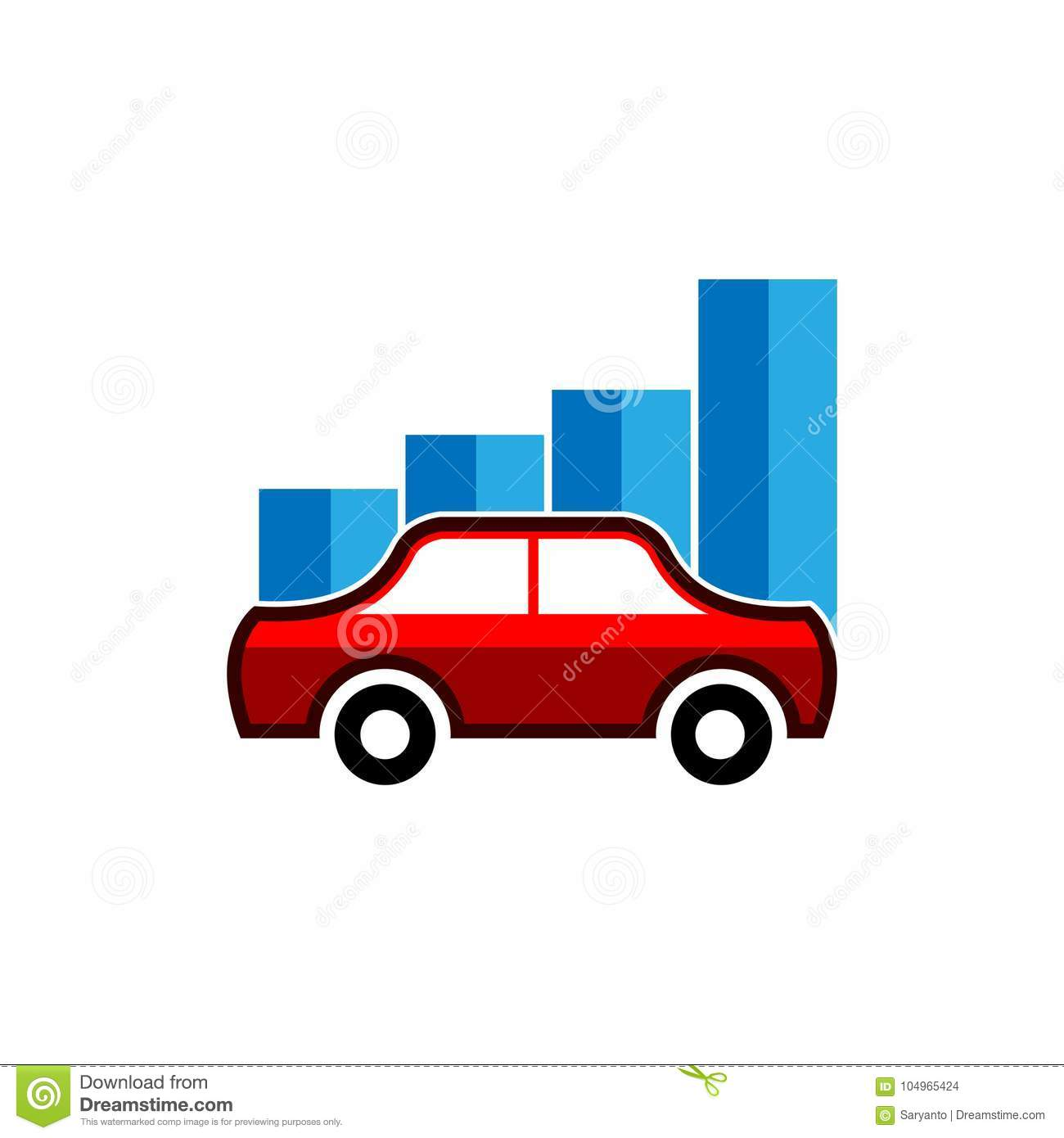 Trading Cars Concept - Business Graph With Car Stock Vector Stock ...