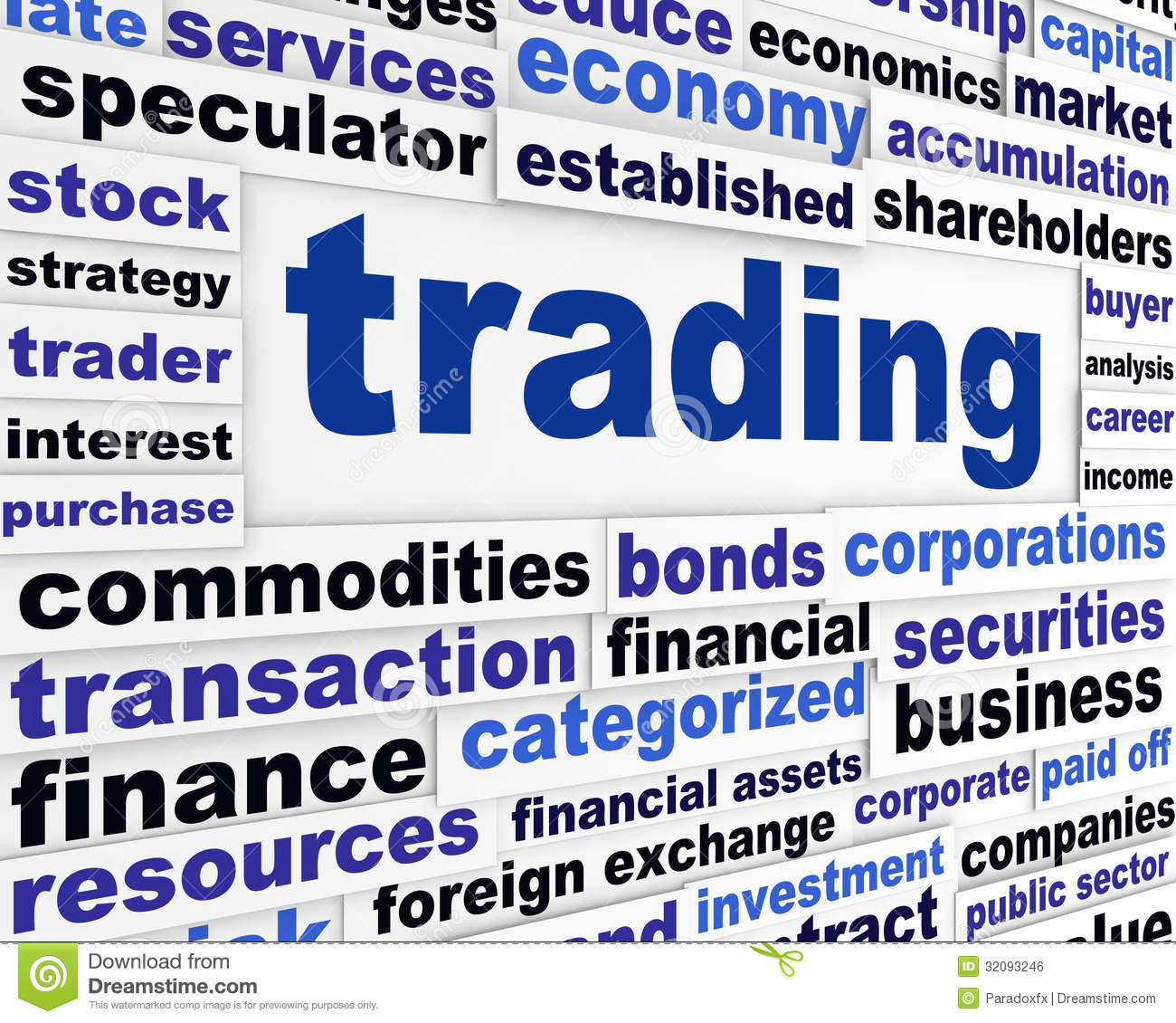 Finance Words: Trading Financial Words Design Royalty Free Stock Image