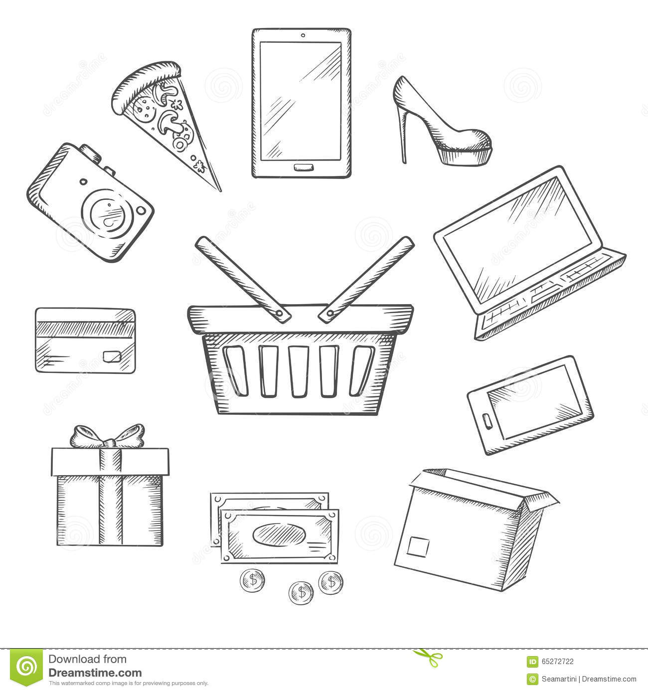 Trading Sketch Icons For Online Shopping Stock Vector - Illustration ...
