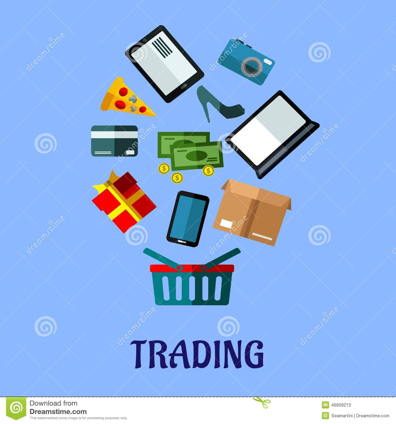 Tradingflat Poster Design For Online Shopping Stock Vector - Image: 46609213