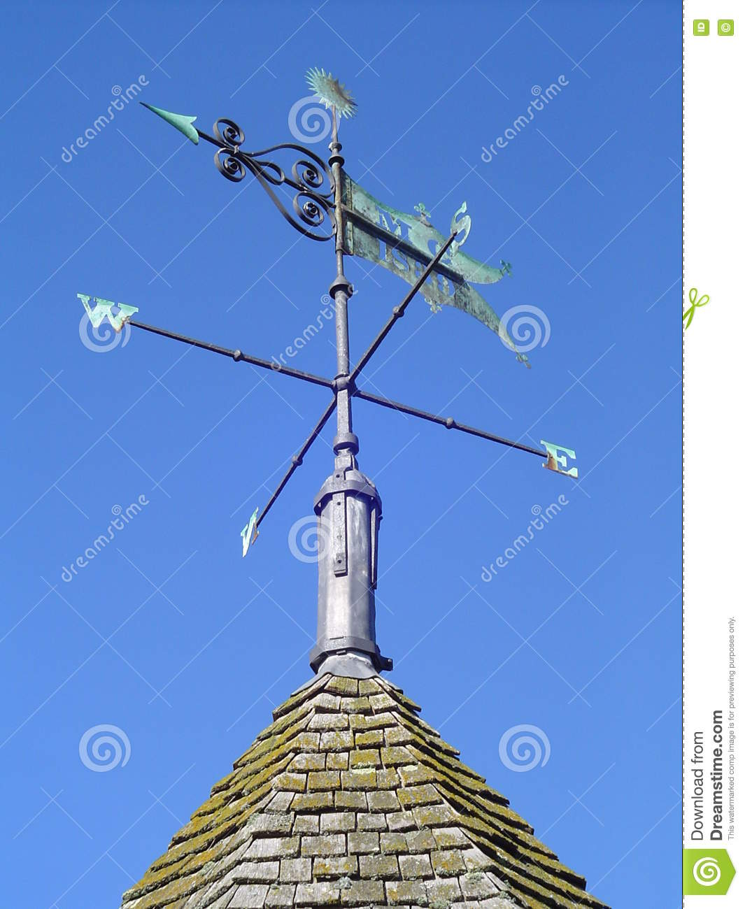 Copper Wire For Roof Moss | Traditinal Copper Weather Vane Stock Photo Image Of Blue Weather