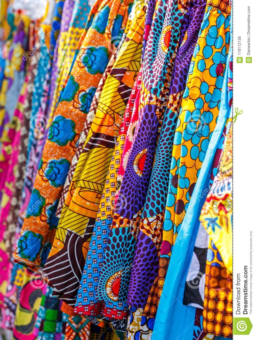 Traditional African Fabric In Many Patterns Stock Photo - Image of