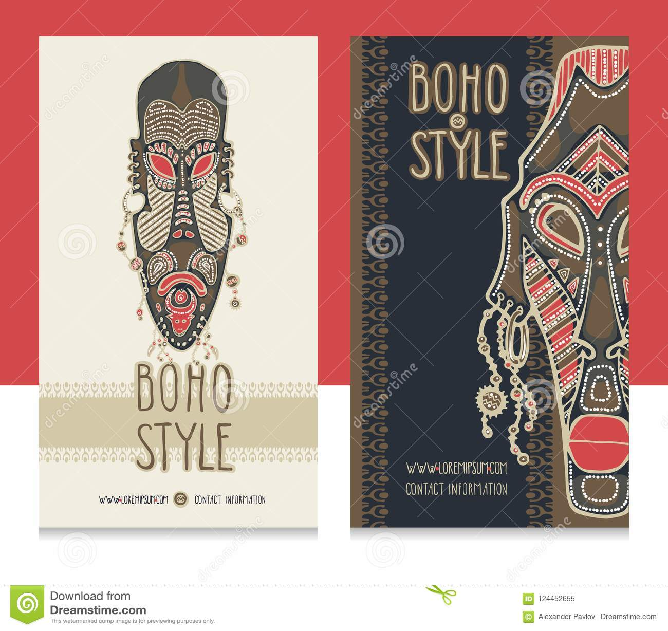 Traditional african masks ethnic style card template boho shop download traditional african masks ethnic style card template boho shop business cards stock colourmoves
