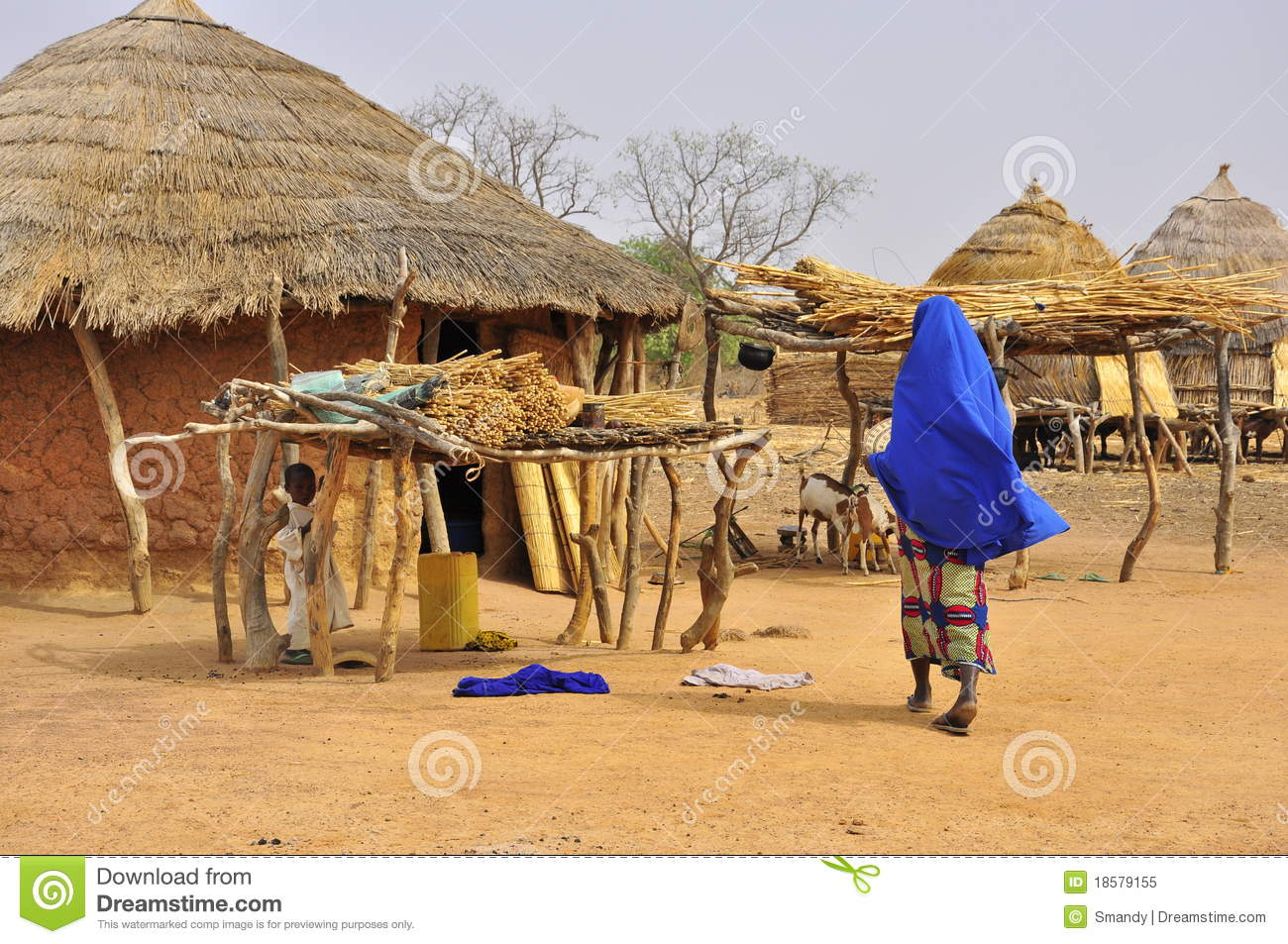 Traditional African Village Houses Editorial