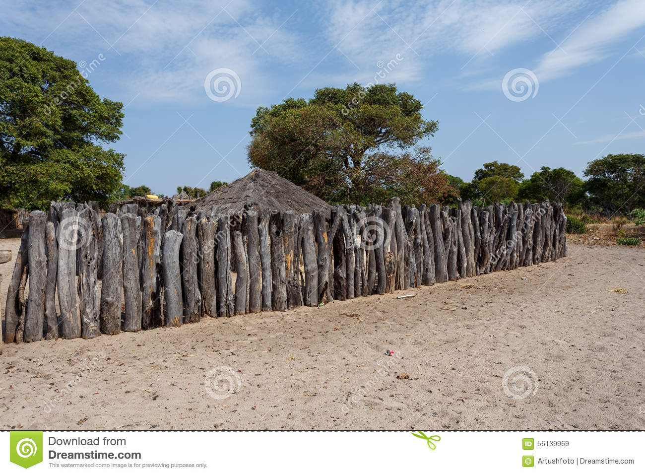 Traditional African Village With Houses Stock Photo