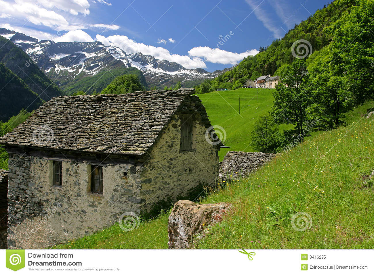 Traditional Alpine Stone House Switzerland Stock Image