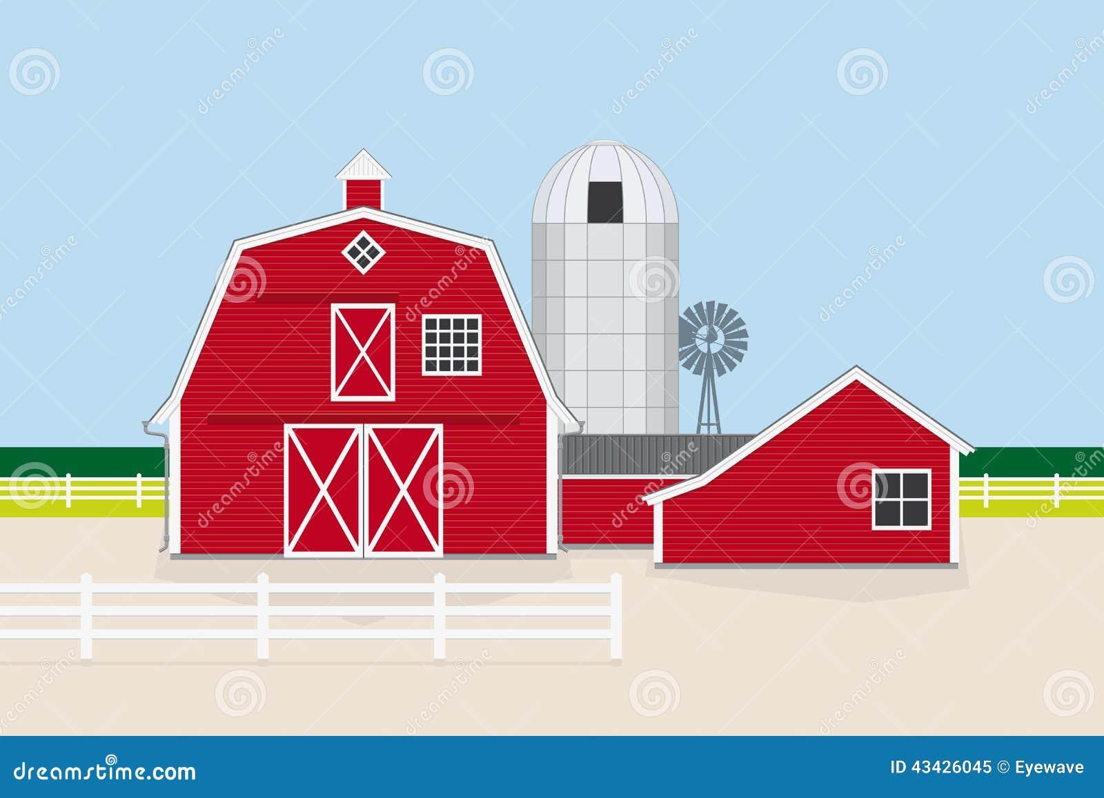 Traditional American Farm Vector Illustration Stock Vector