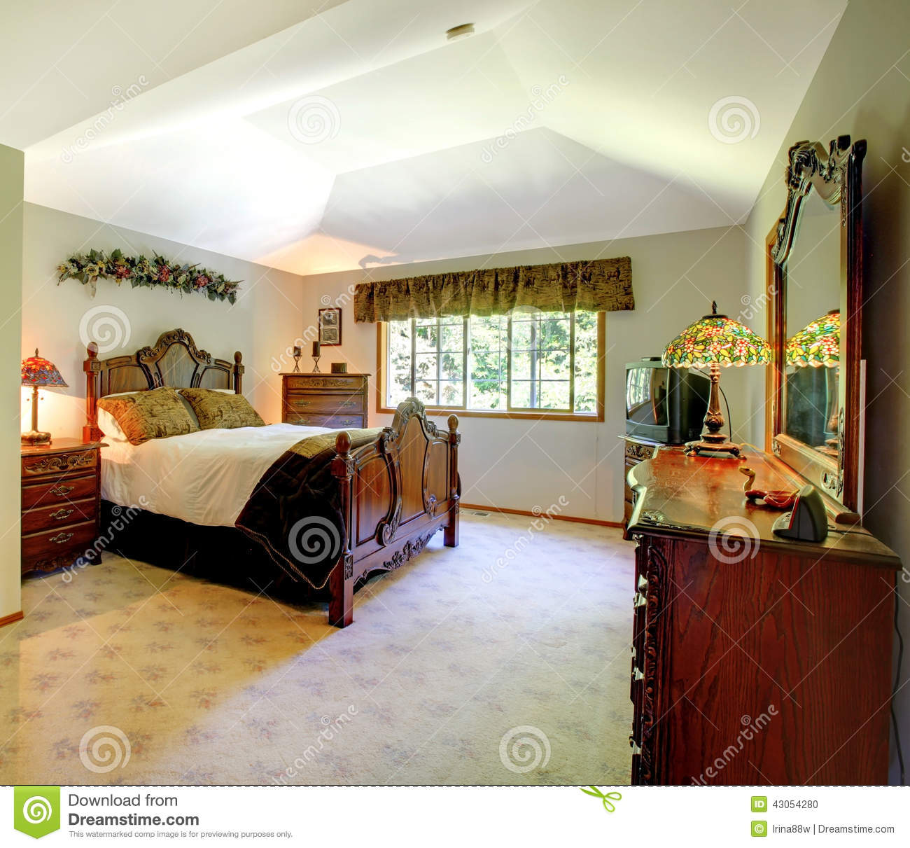 Master bedroom with green walls stock image for American classic bedroom