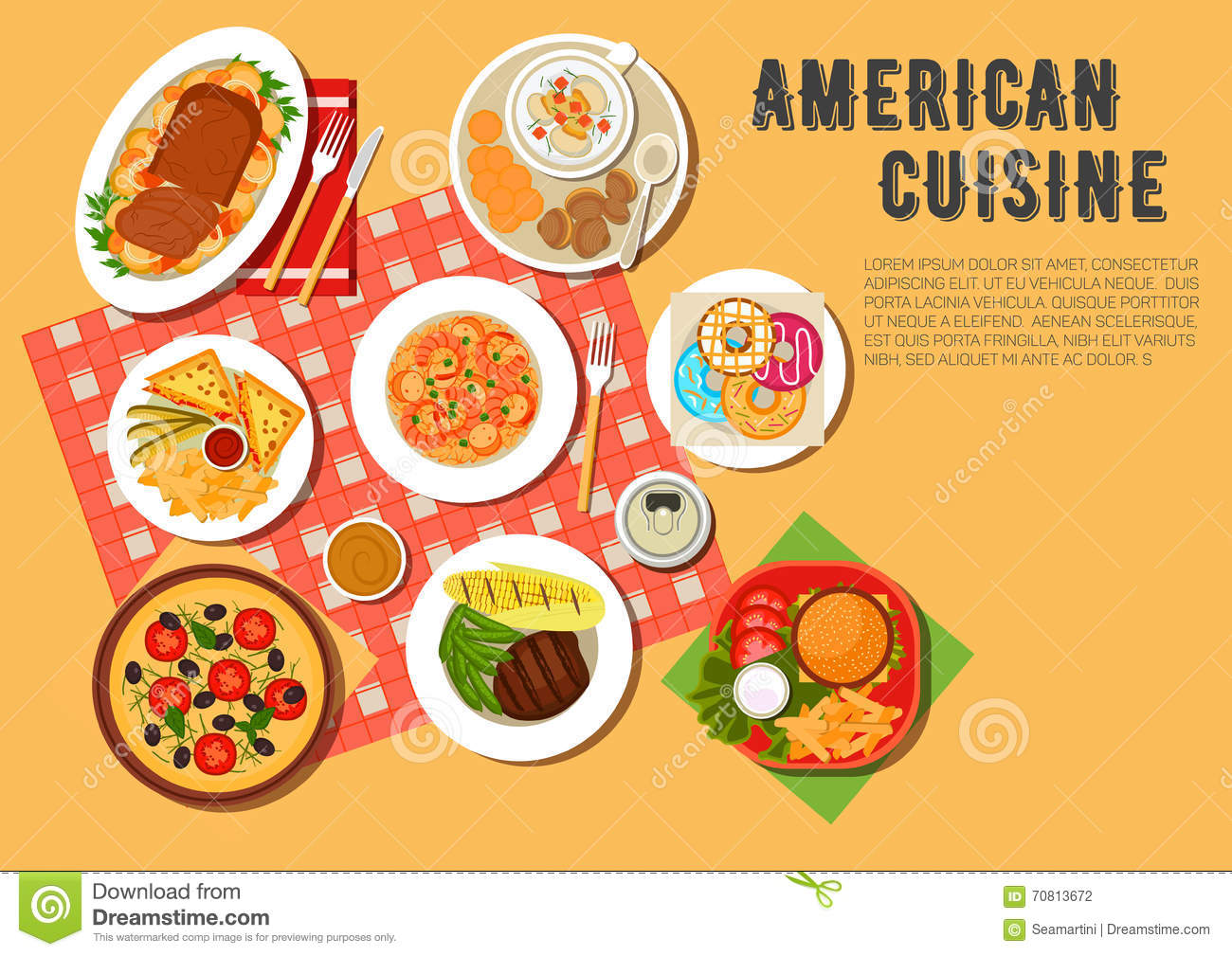 Traditional american picnic menu flat icon stock vector for Authentic american cuisine