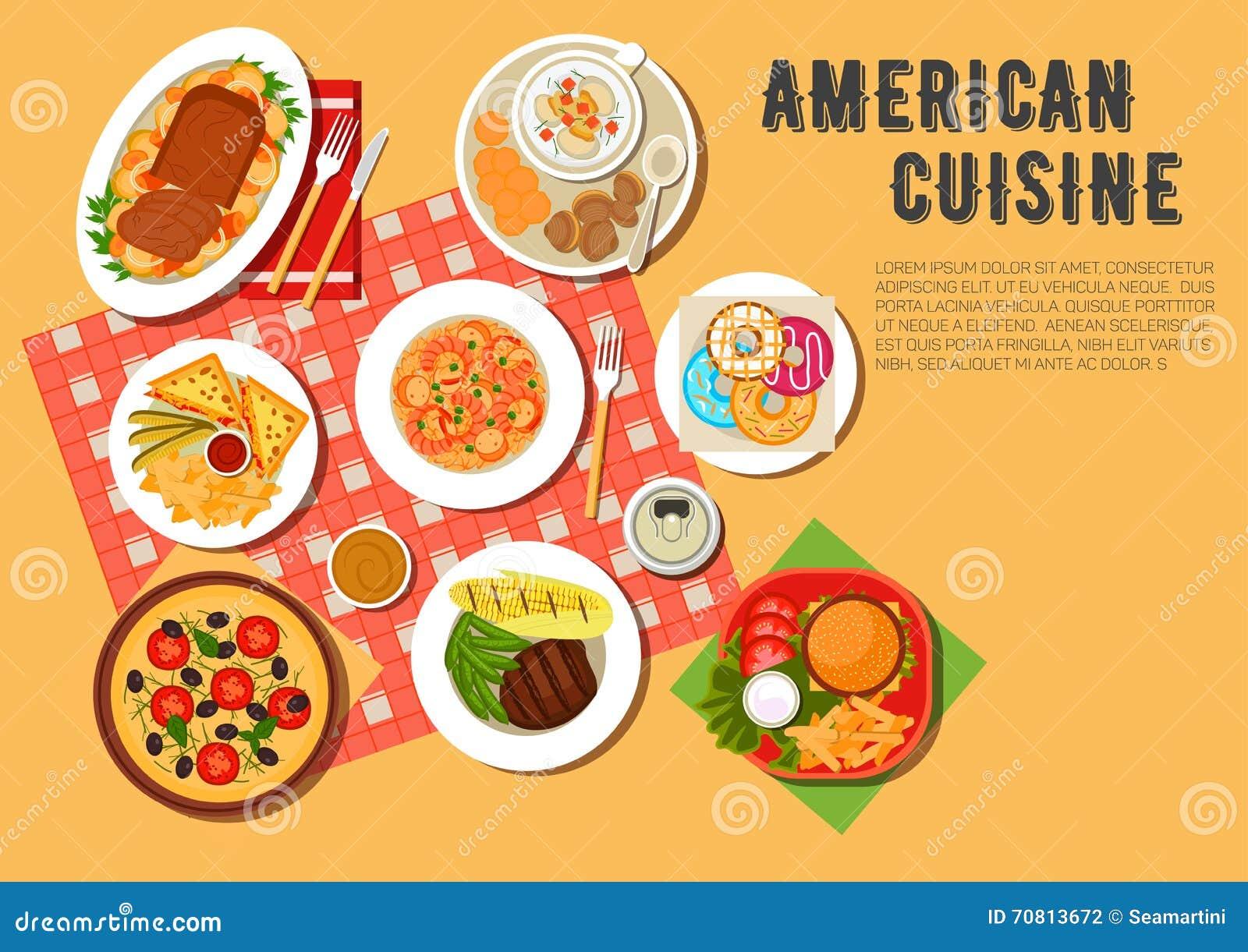Traditional american picnic menu flat icon stock vector for American cuisine menu