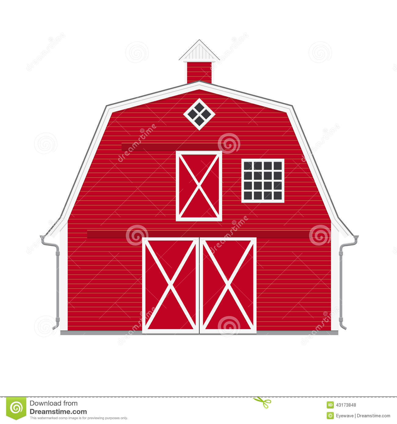 Traditional American Red Barn Isolated Stock Vector Image