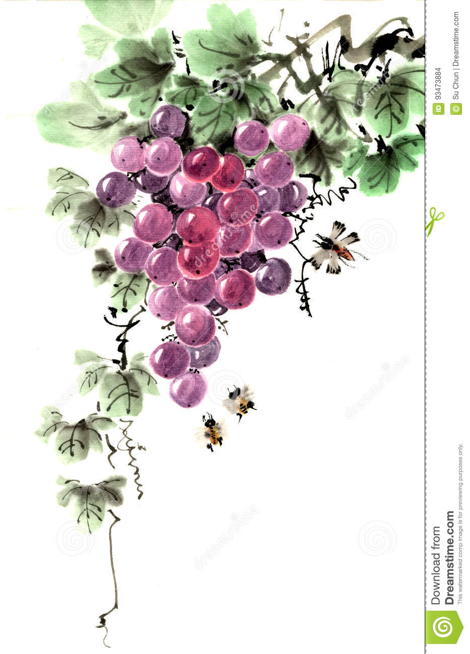 The Traditional Ancient Chinese Hand - Painted Fruit, Grapes Stock Illustration - Illustration of calligraphy, evidence: 93473884