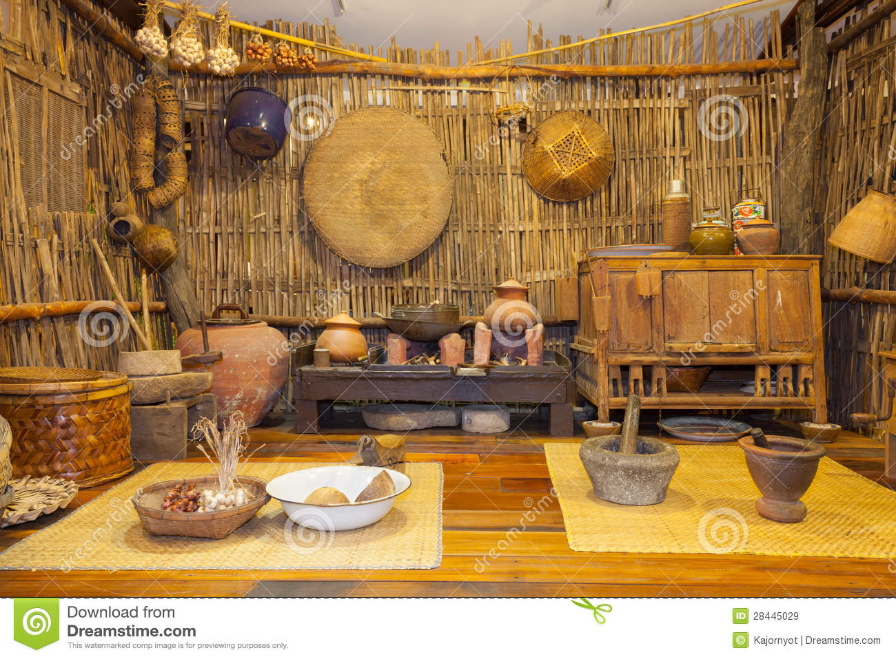 Thai Kitchen Traditional Ancient Thai Kitchen Display Royalty Free Stock Images
