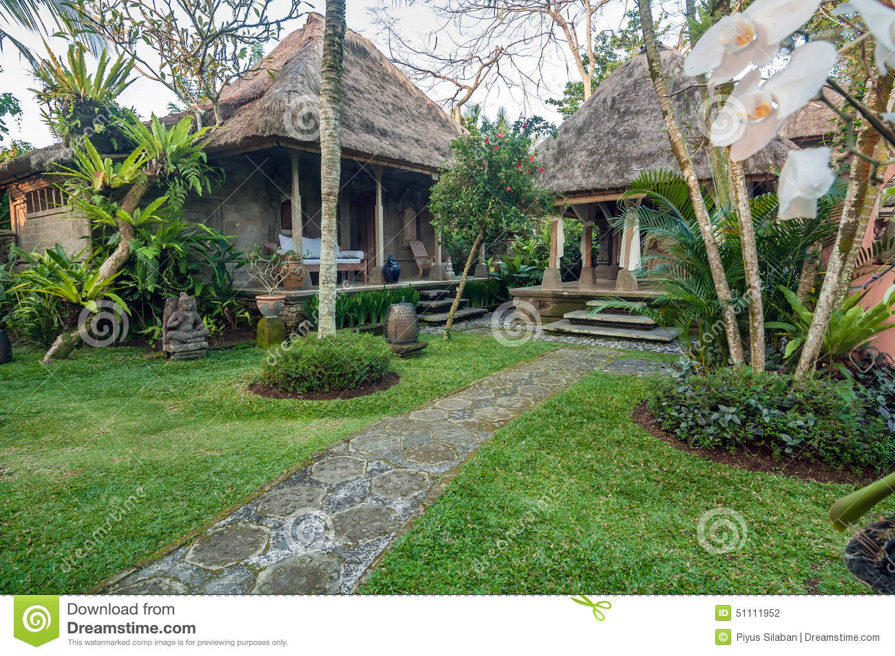 Traditional And Antique Balinese Style Villa Design Stock