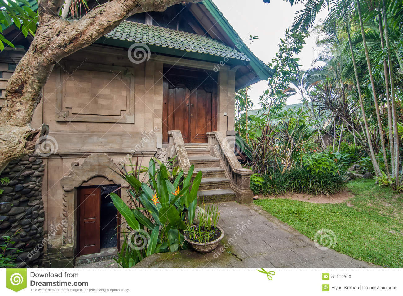 Traditional And Antique Balinese Style Villa Design Stock Photo Image Of Tourism Relax 51112500