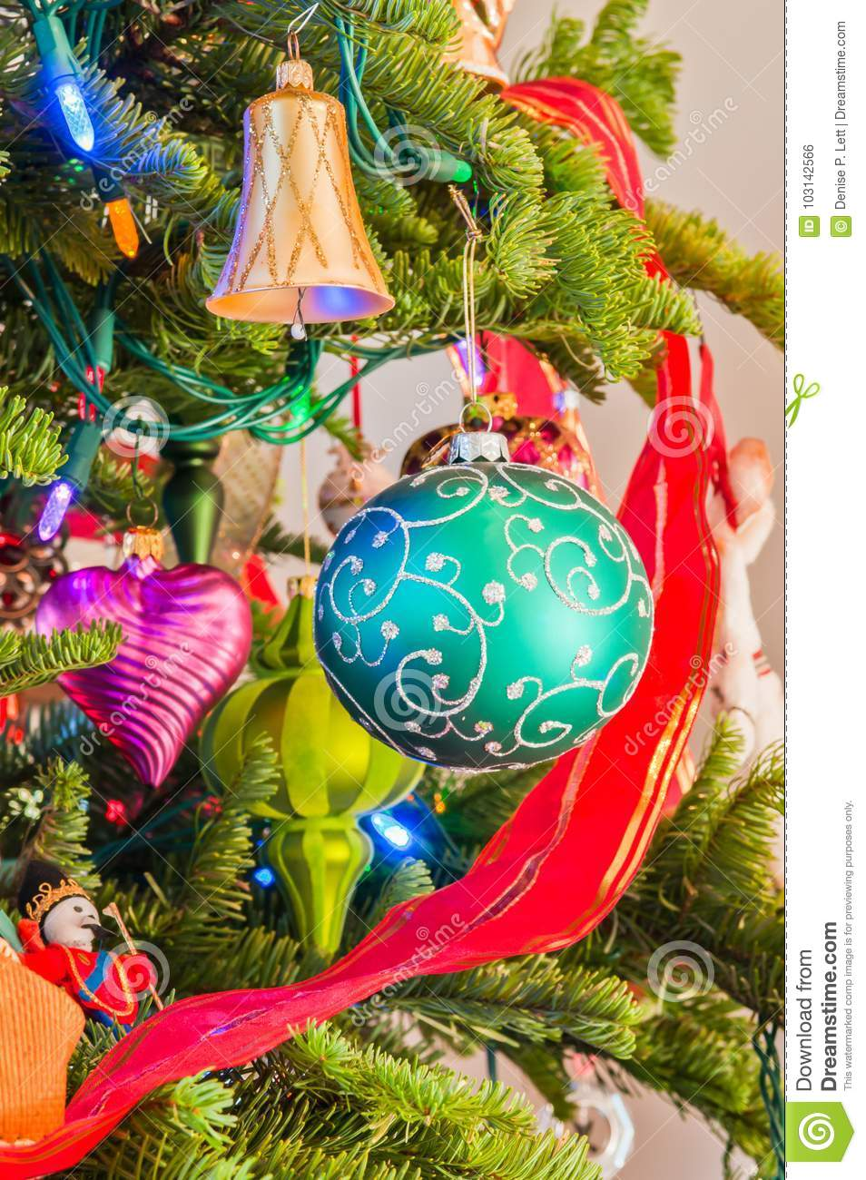 download traditional antique christmas ornaments on tree branches stock photo image of bell antique