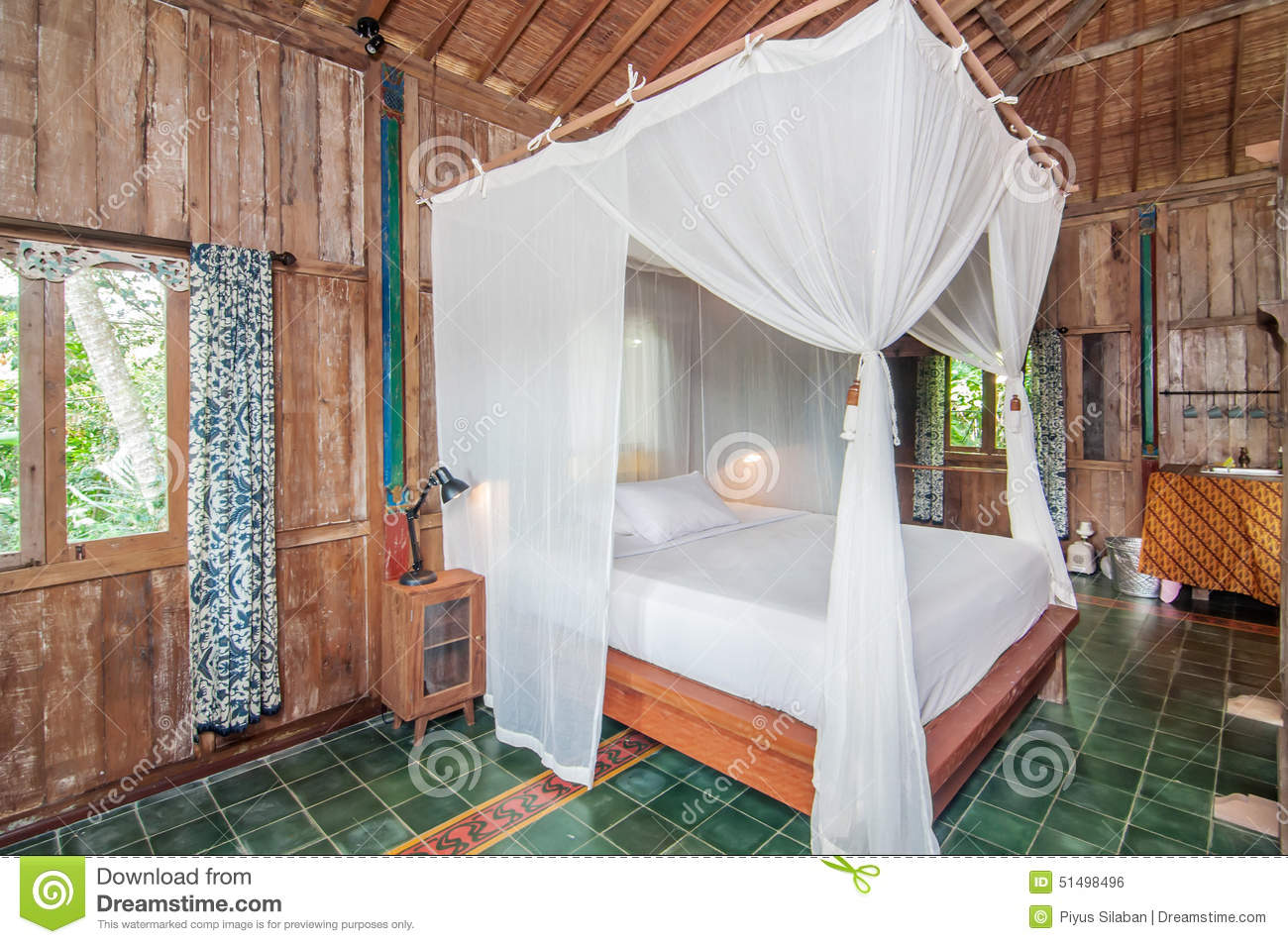 Traditional And Antique Javanese Style Bedroom Villa In Bali Stock ...