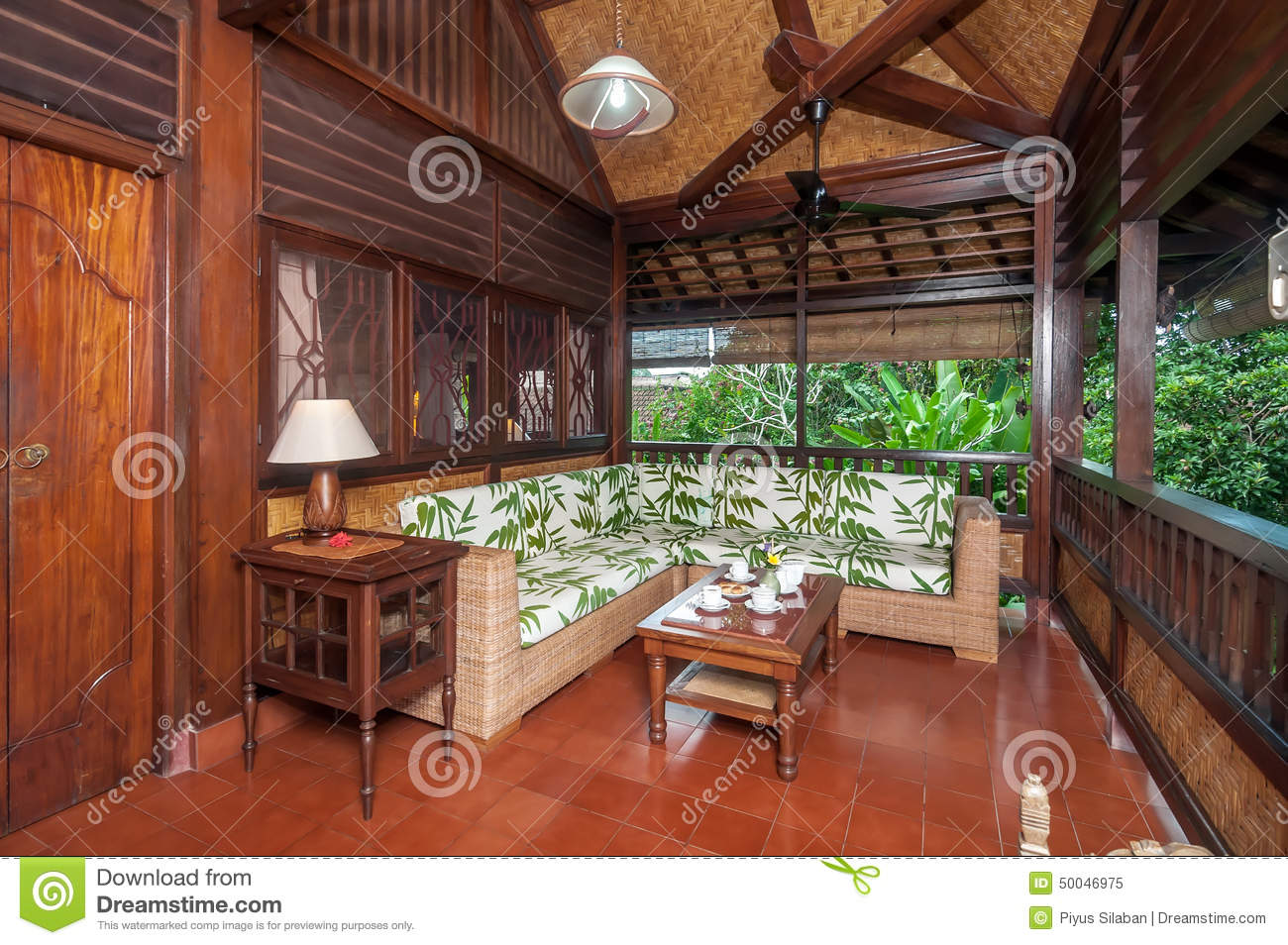 Traditional And Antique Living Room Of Bali Villa Stock