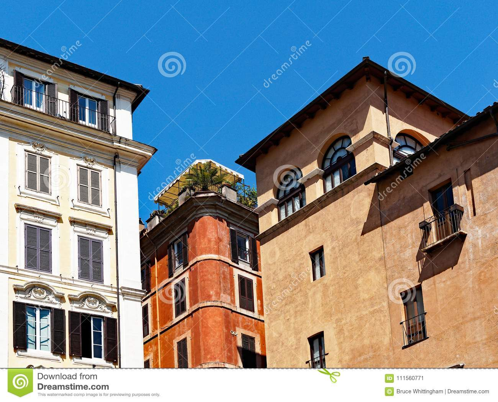 Traditional Apartment Buildings, Rome, Lazio, Italy