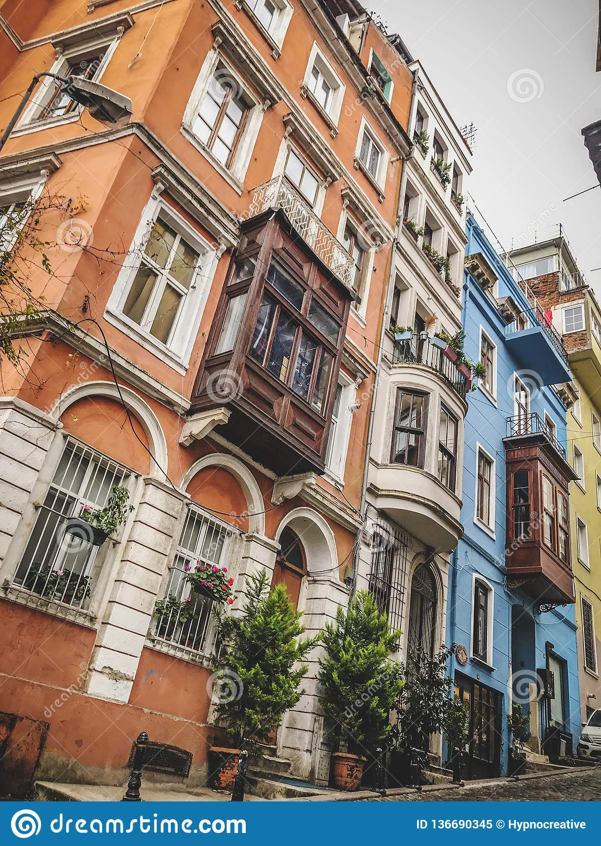 Traditional apartment buildings in Tophane district of Beyoglu, Istanbul