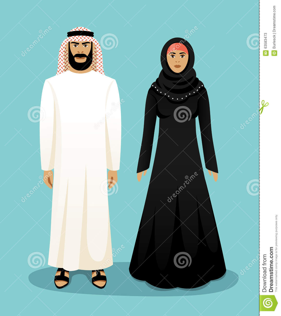 traditional arab clothing man and woman stock vector