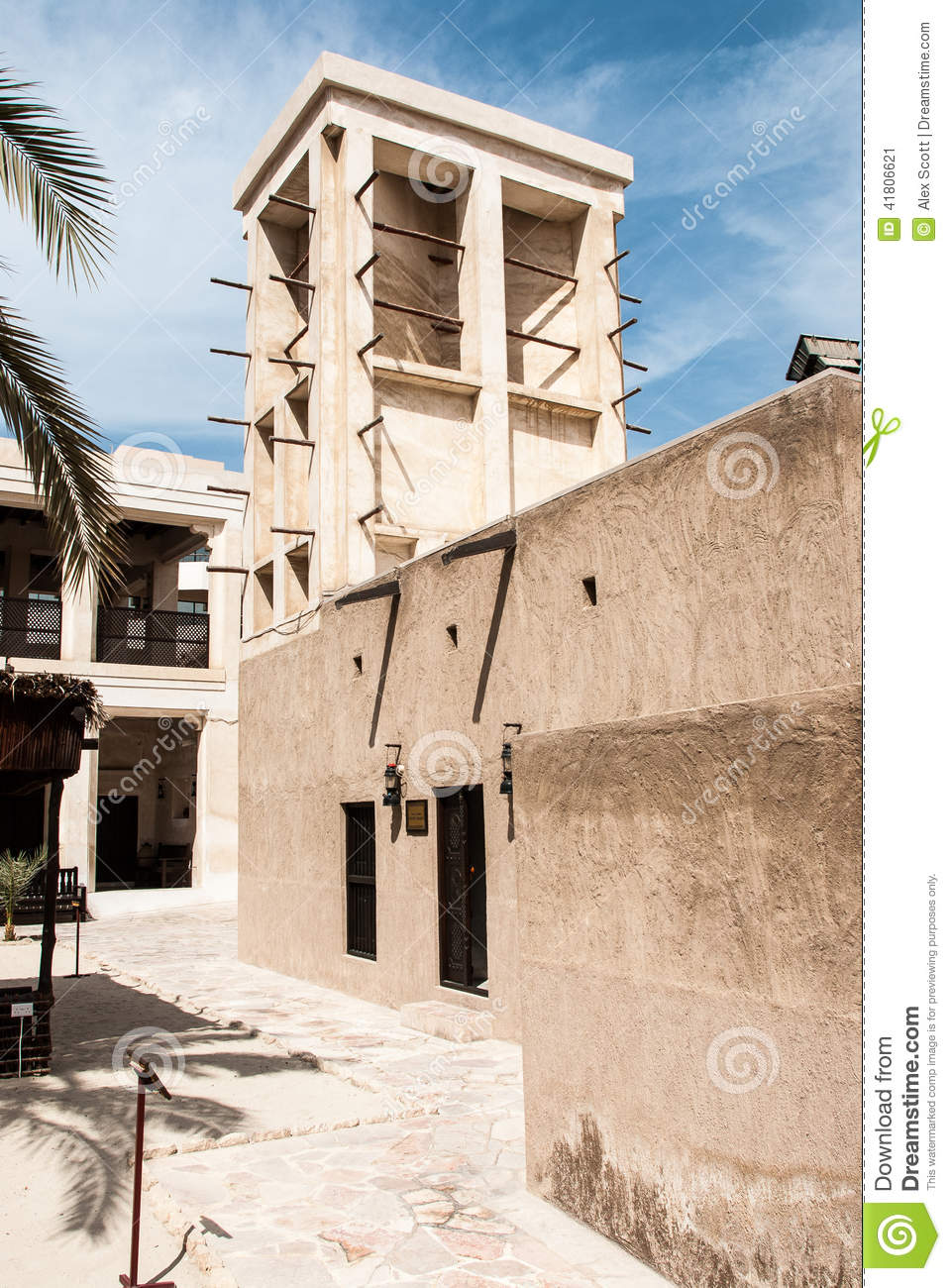 traditional arab house with wind tower stock photo