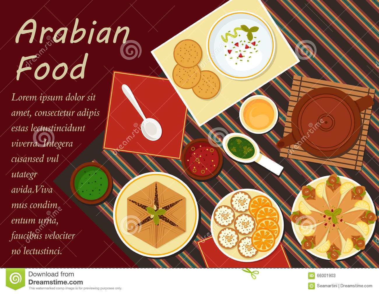 Traditional arabian cuisine menu elements stock vector for Arabian cuisine menu