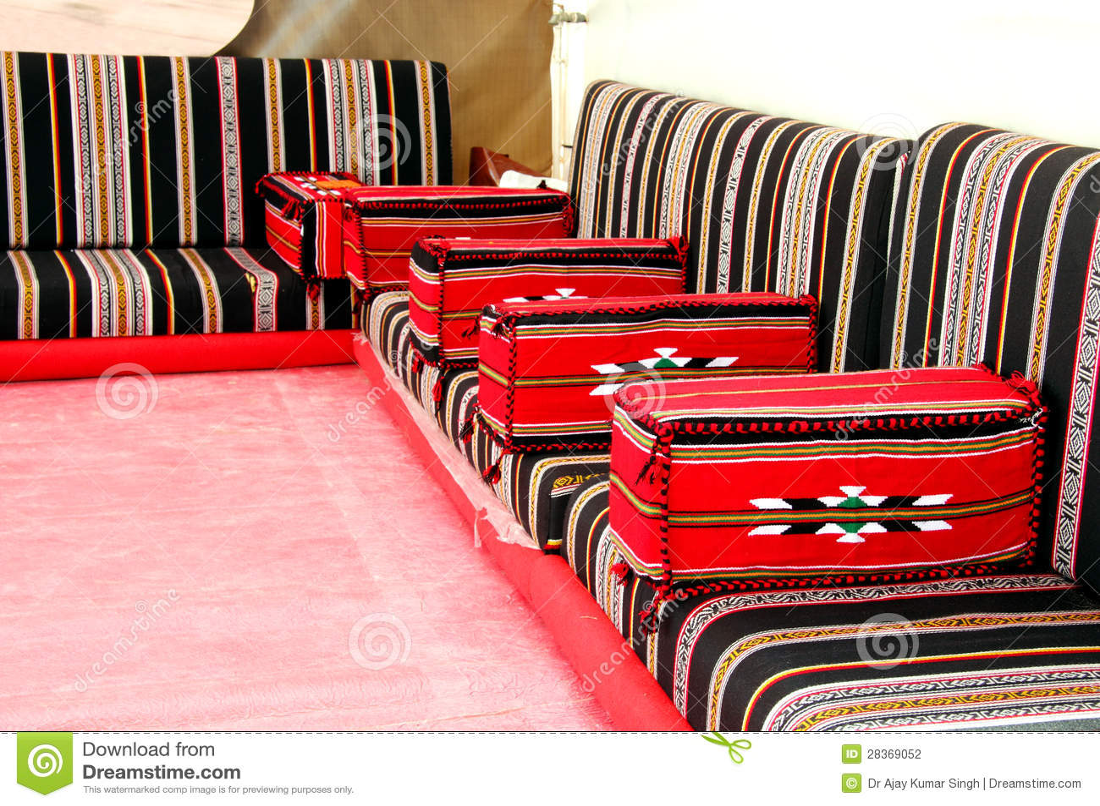 Traditional Arabian Style Seating Arrangement Stock