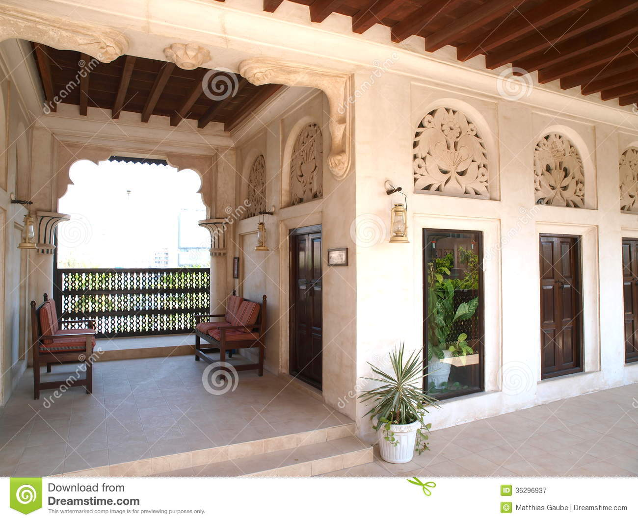 Traditional arabic houses at the creek 1 royalty free for Architecture maison arabe