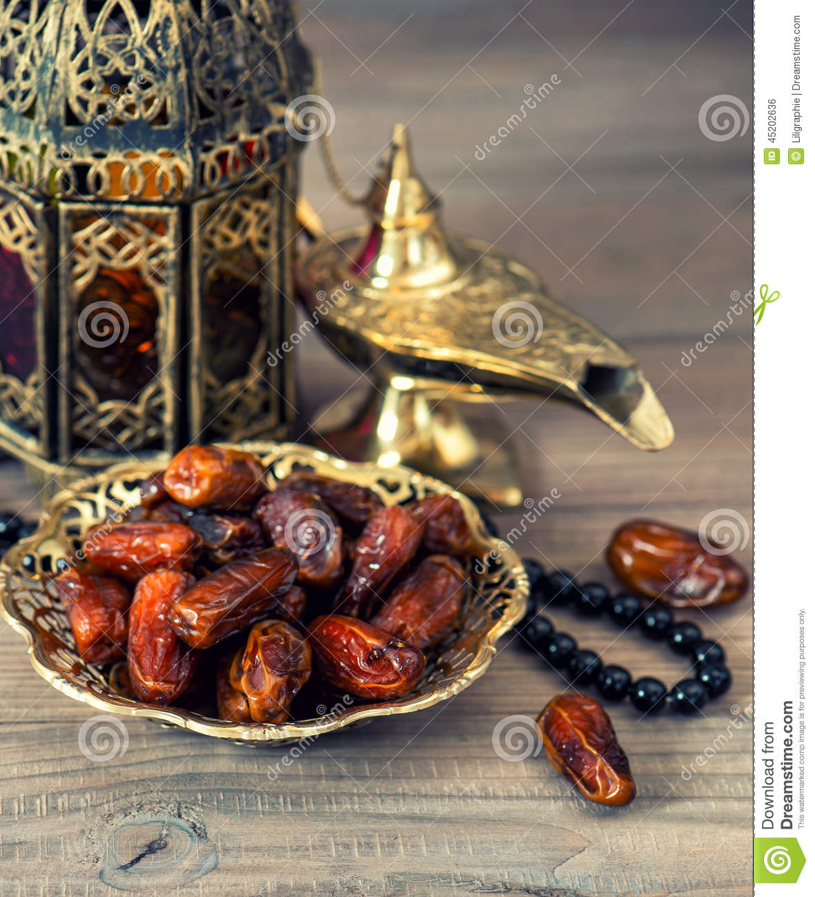 Traditional Arabic Lamp, Latern, Dates And Rosary Stock Photo ... for Traditional Arabic Lamp  585ifm