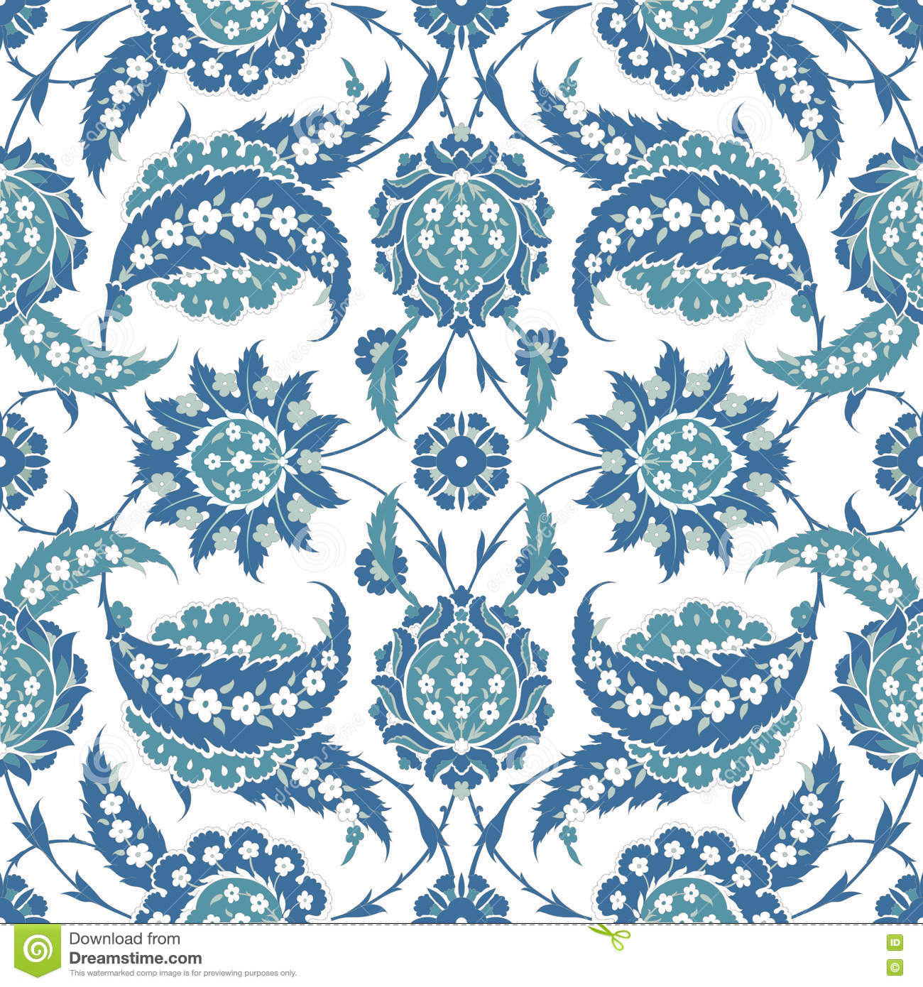 Traditional Arabic ornament seamless for your design. Desktop wallpaper. Background. Iznik.