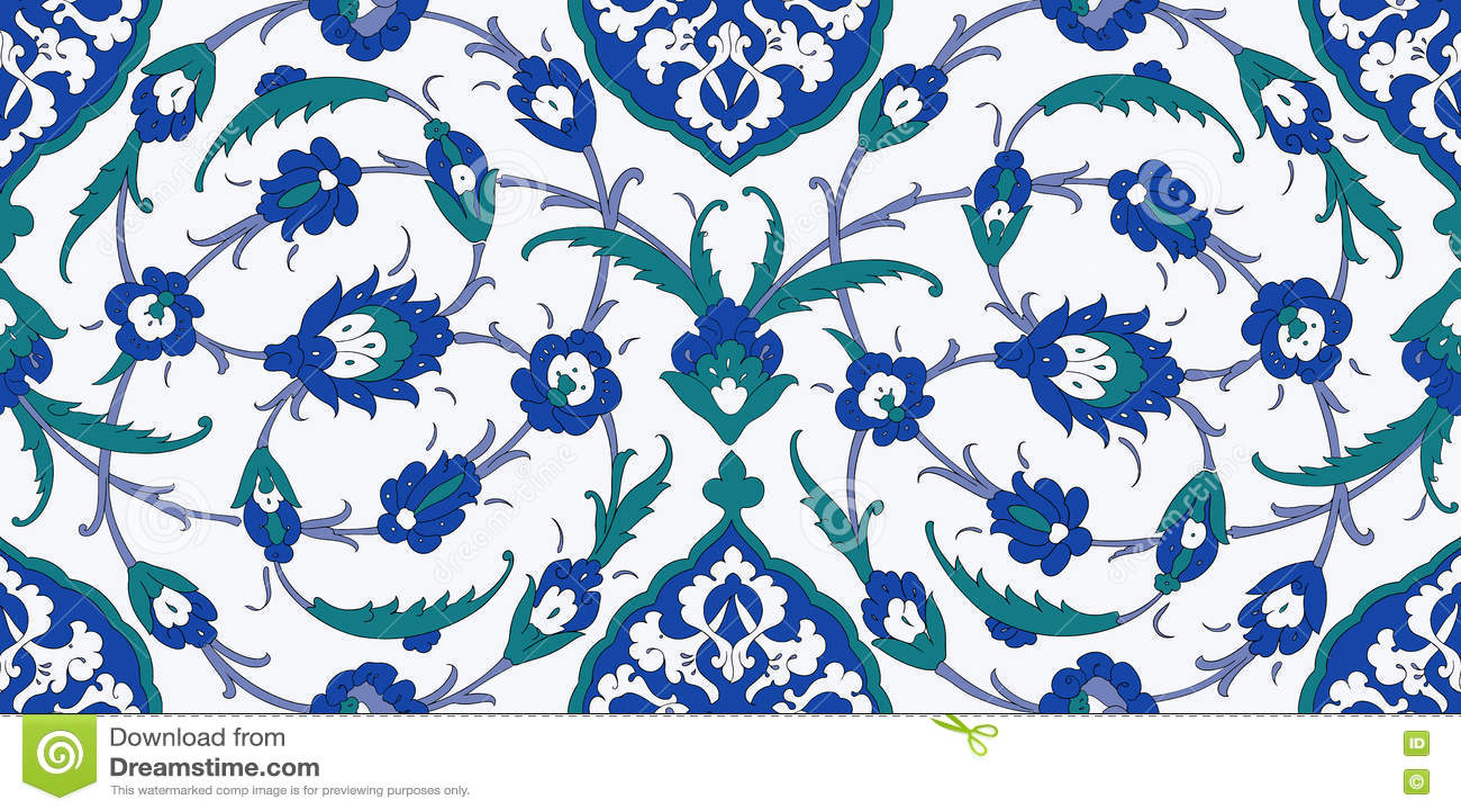 Floral ornamental seamless pattern for interior decoration and graphic design. Desktop wallpaper. Background. Iznik. Vector.